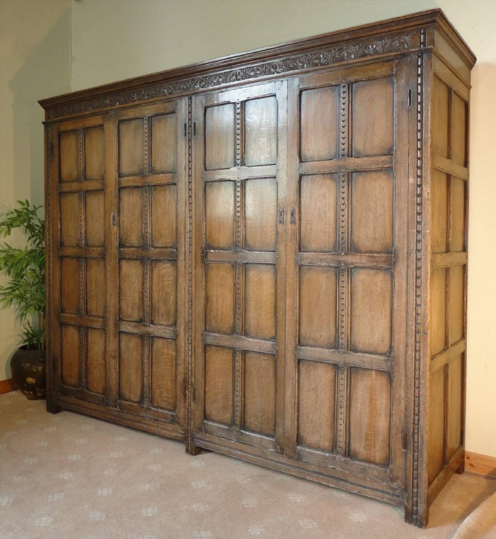 Late Victorian Jacobean Style Oak Wardrobe | 242145 with Large Antique Wardrobes (Image 14 of 15)