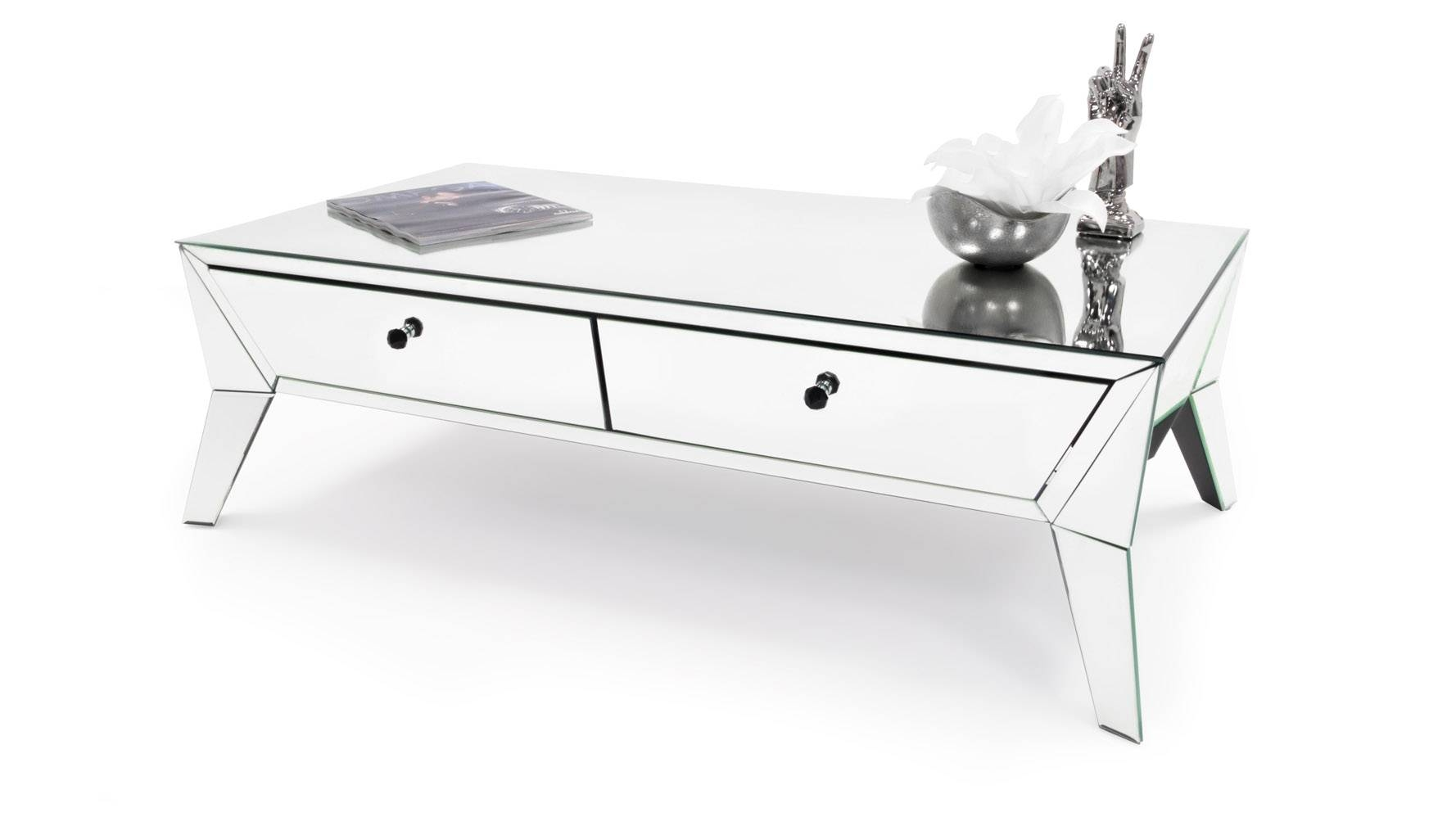 Lave Mirrored Glass Coffee Table | Zuri Furniture In Mirrored Coffee Tables (View 19 of 30)