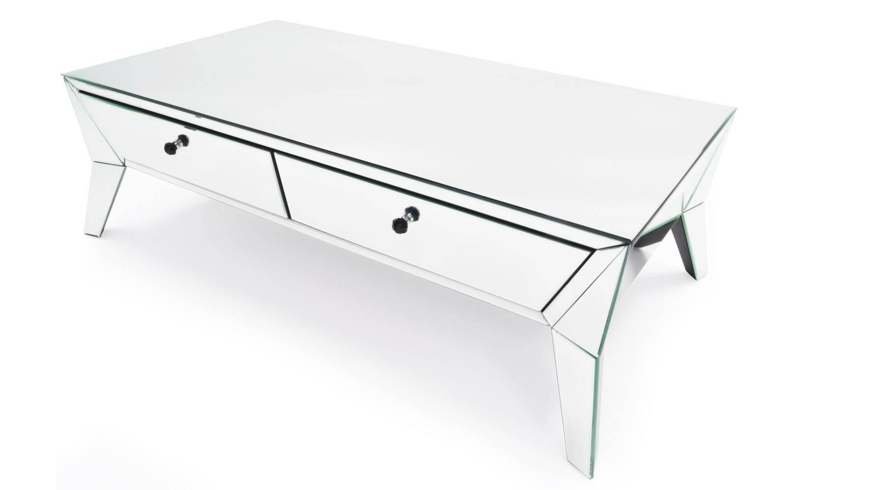 Lave Mirrored Glass Coffee Table | Zuri Furniture With Regard To Mirrored Coffee Tables (View 17 of 30)