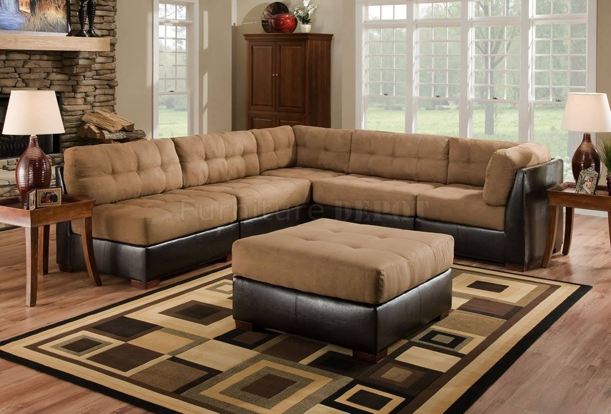 Leather And Cloth Sectional Sofas | Aviblock throughout Leather And Material Sofas (Image 10 of 30)