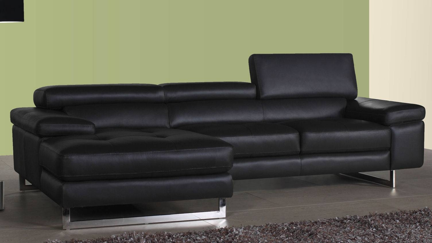 Leather Corner Sofa Chaise | Tehranmix Decoration throughout Contemporary Black Leather Sofas (Image 15 of 30)