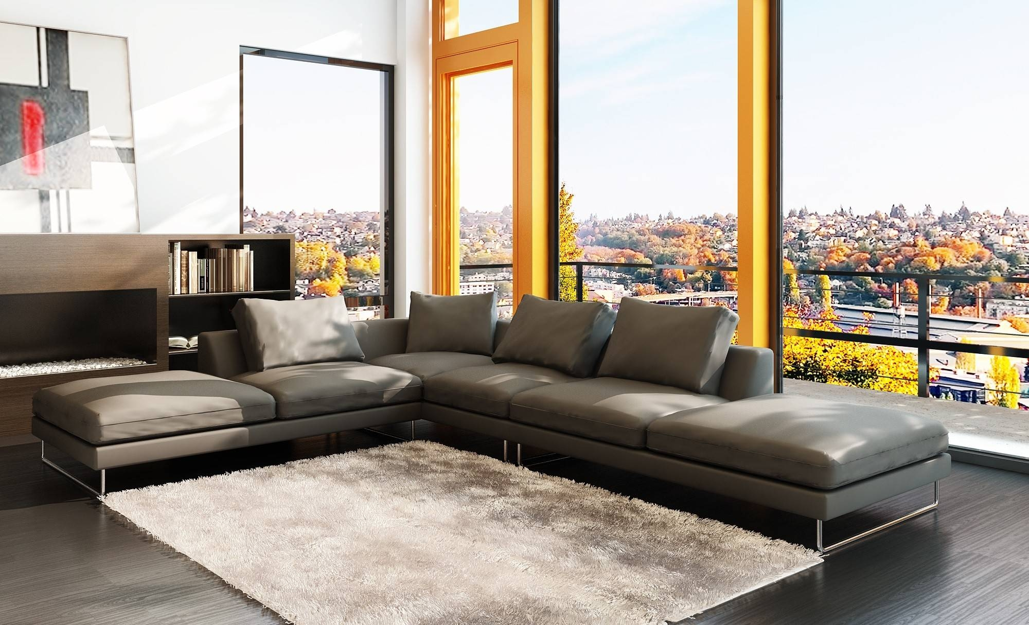 Leather Corner Sofa Grey | Tehranmix Decoration intended for Large Black Leather Corner Sofas (Image 11 of 30)