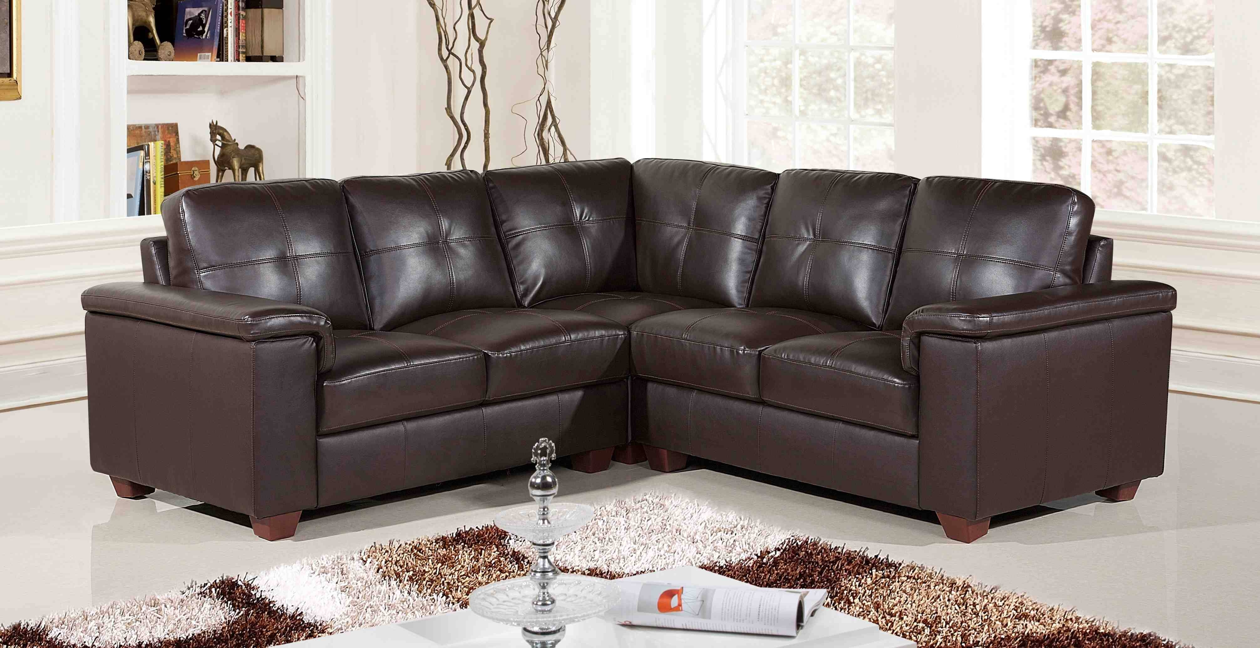 Popular Photo of Small Brown Leather Corner Sofas