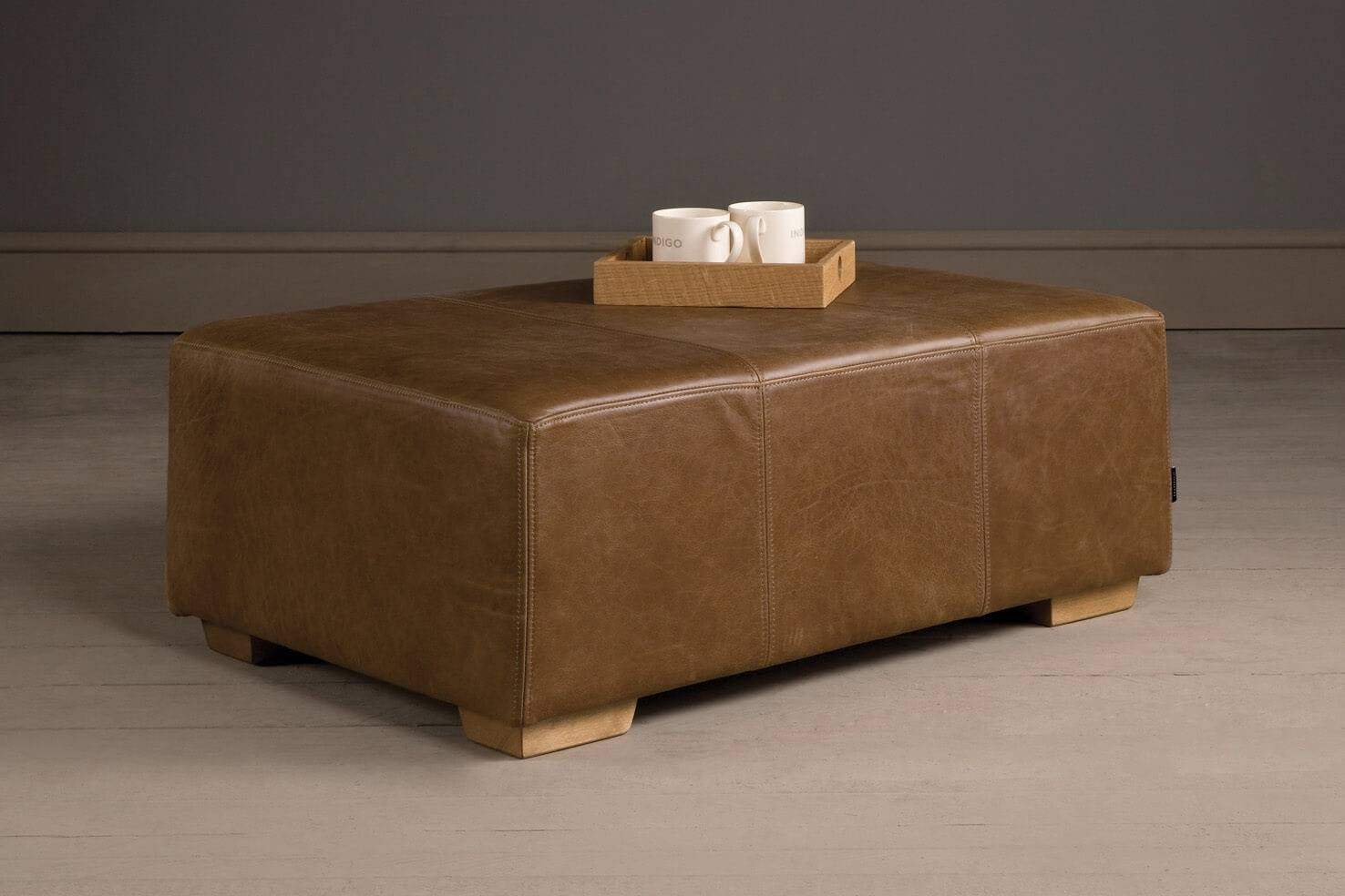 Leather Footstool, Handcraftedindigo Furniture in Leather Footstools (Image 16 of 30)