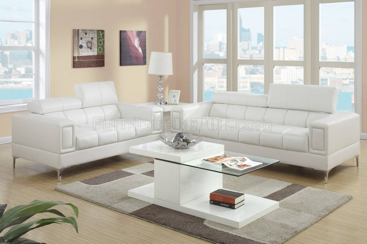 Leather Living Room Sets in Off White Leather Sofa and Loveseat (Image 6 of 30)