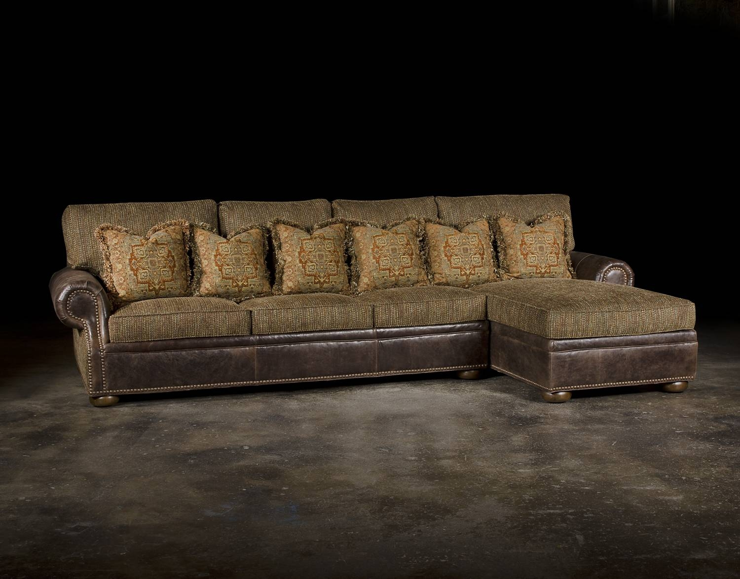 Leather Or Fabric Sofa pertaining to Leather and Material Sofas (Image 15 of 30)