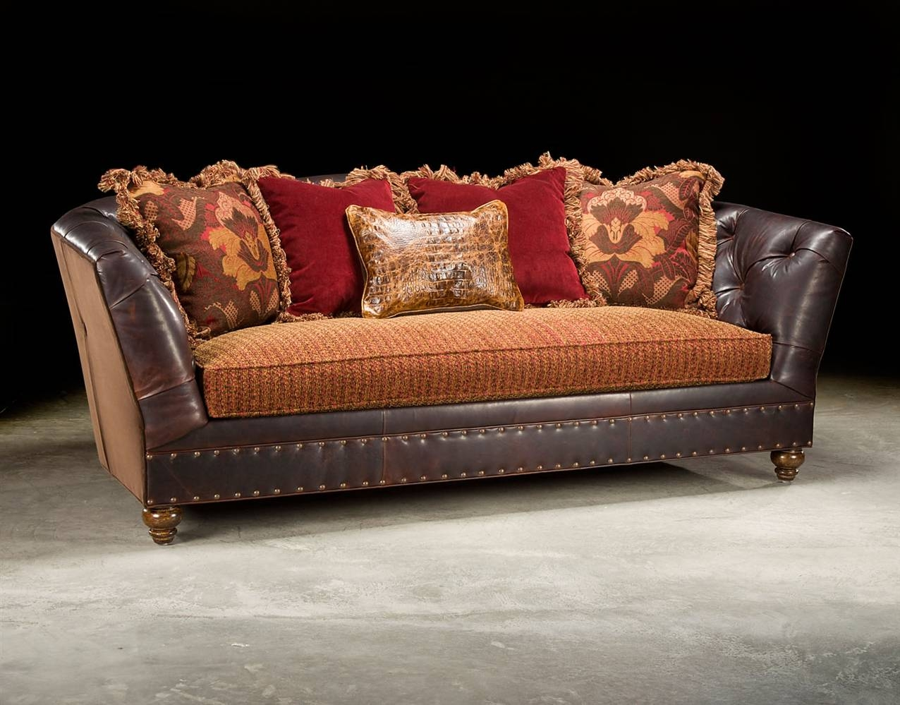Leather Or Fabric Sofa pertaining to Leather and Material Sofas (Image 14 of 30)