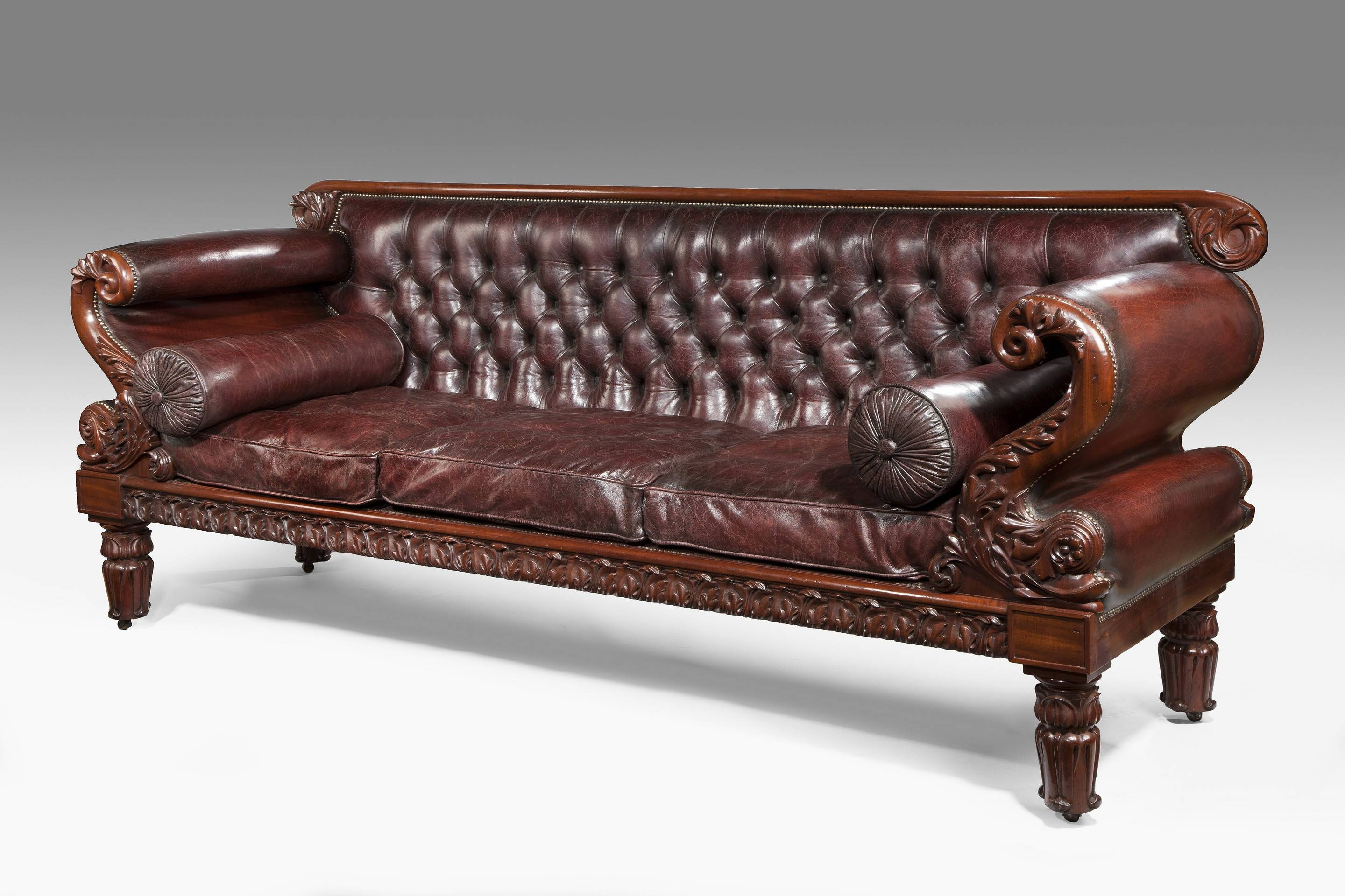 Leather Regency Antique Sofa (C. 1815 England)In The Manner Of with Antique Sofa Chairs (Image 16 of 30)