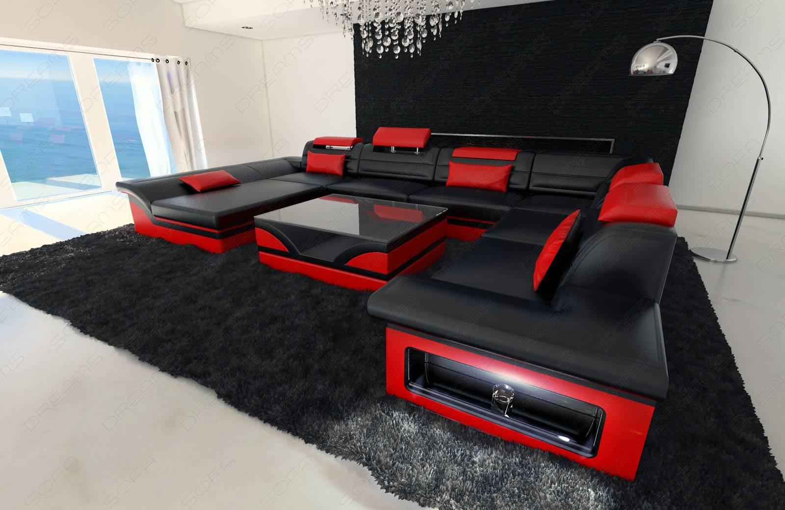 Leather Sectional Sofa Enzo Xxl Black Red | Ebay for Red Black Sectional Sofa (Image 16 of 30)