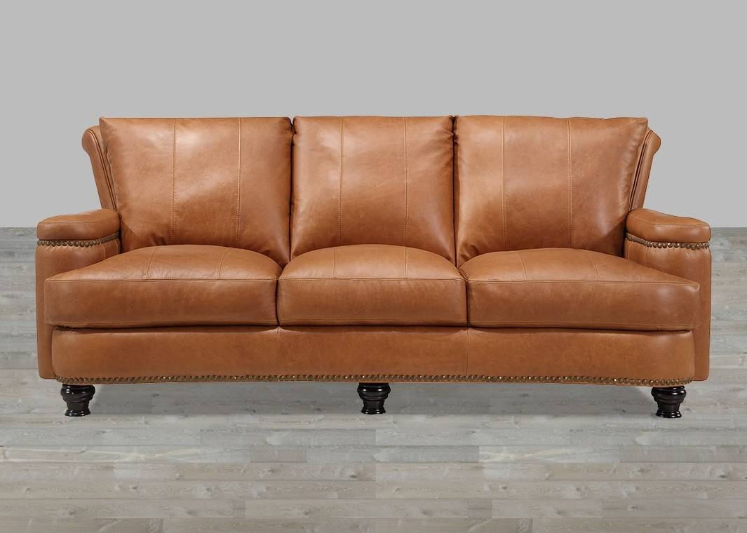 Leather Sofa Caramel Finish With Nailhead Trim throughout Aniline Leather Sofas (Image 24 of 30)