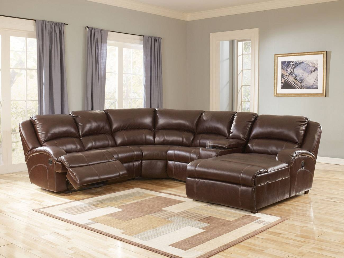 Leather Sofa With Chaise And Recliner | Tehranmix Decoration pertaining to Modern Reclining Leather Sofas (Image 13 of 30)