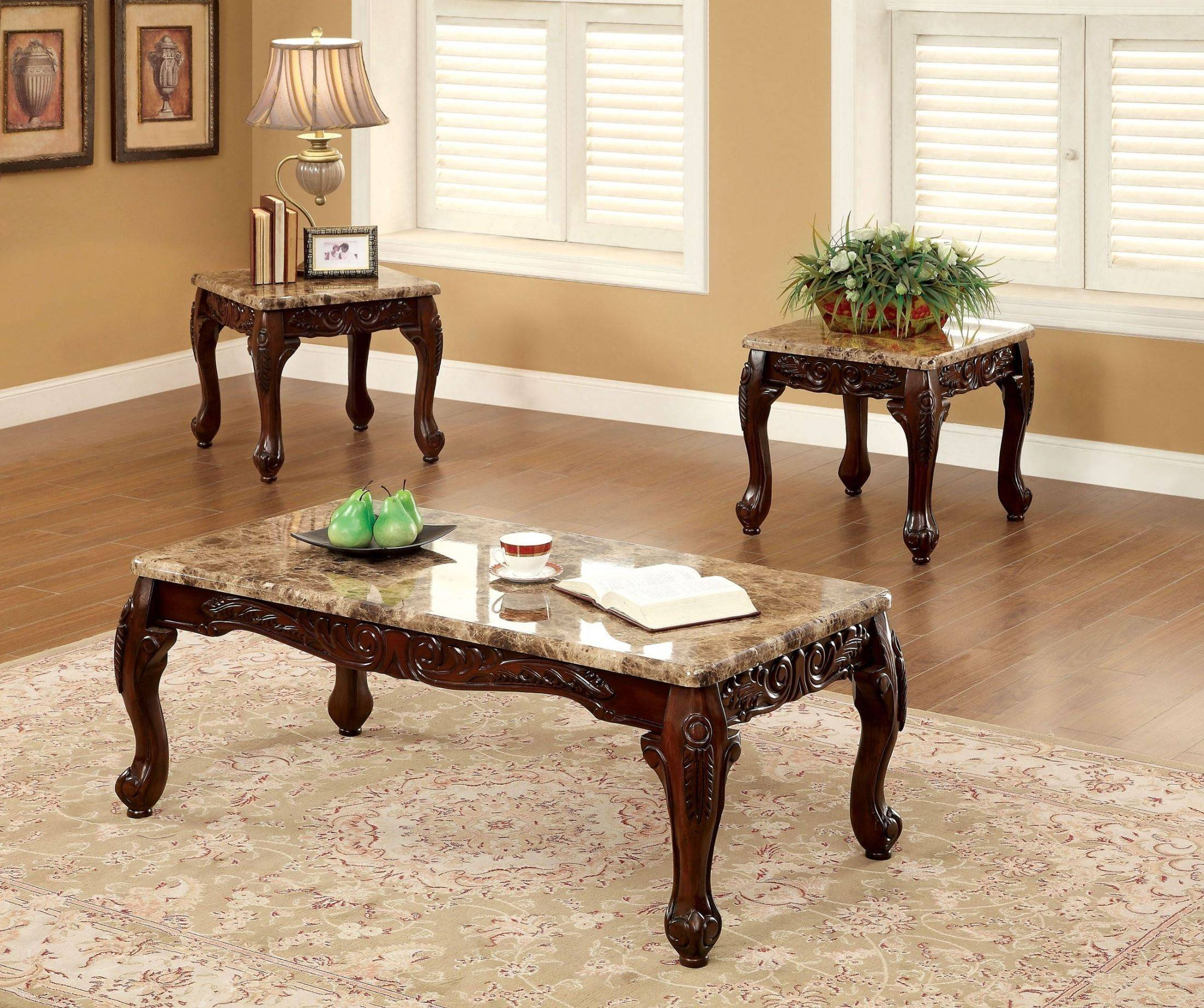 Lechester 3 Piece Occasional Table Set From Furniture Of America with Cherry Wood Coffee Table Sets (Image 27 of 30)