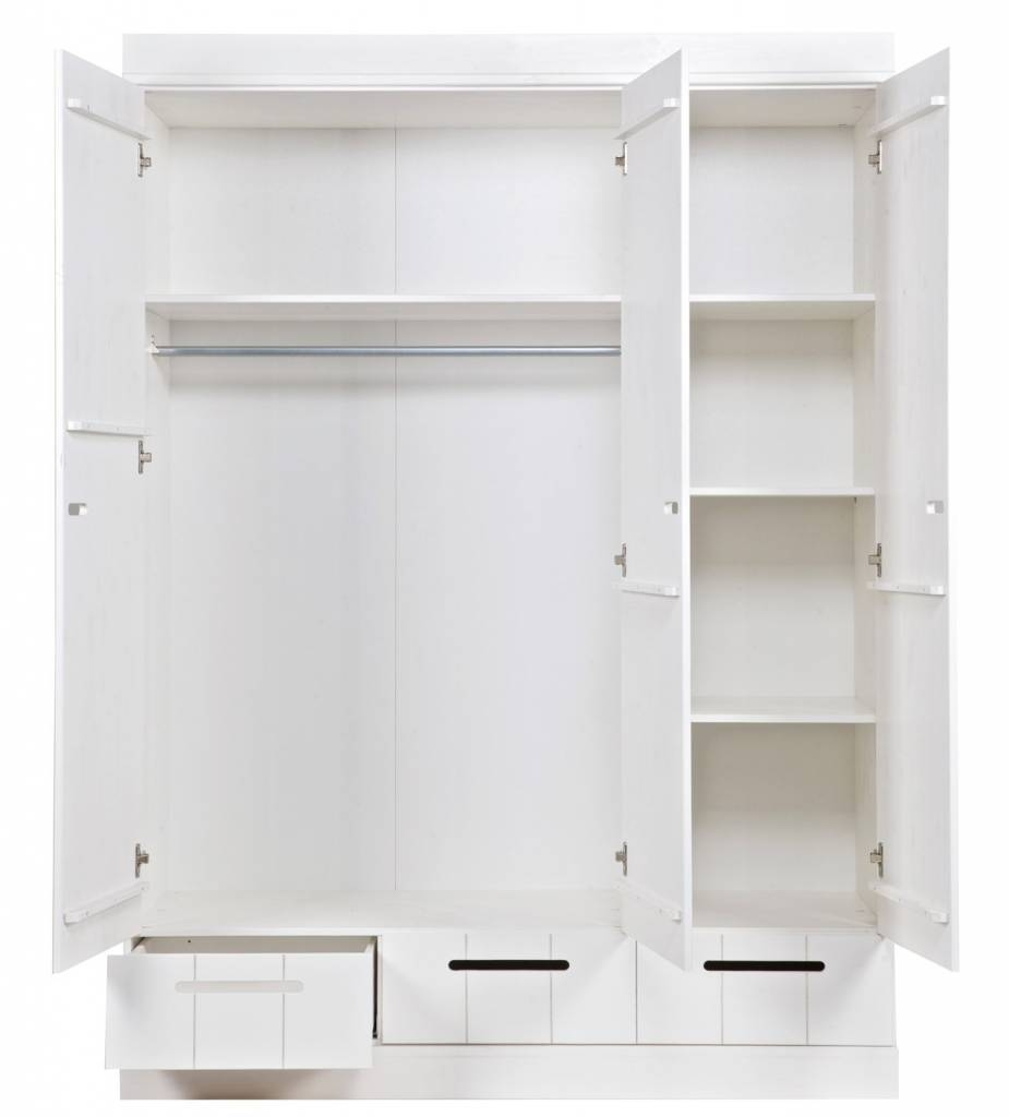 Lef Collections Wardrobe 'connect' With 3 Doors And Drawers Made intended for 3 Door White Wardrobes (Image 13 of 30)