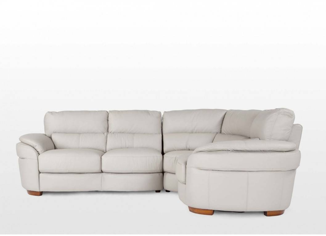 Left Arm Grey Leather Corner Sofa - Aspen with Aspen Leather Sofas (Image 21 of 30)