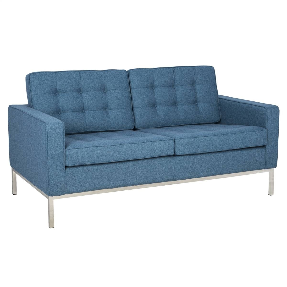 Leisuremod Modern Florence Style Loveseat Sofa In Blue Tweed within Florence Sofas And Loveseats (Image 23 of 25)