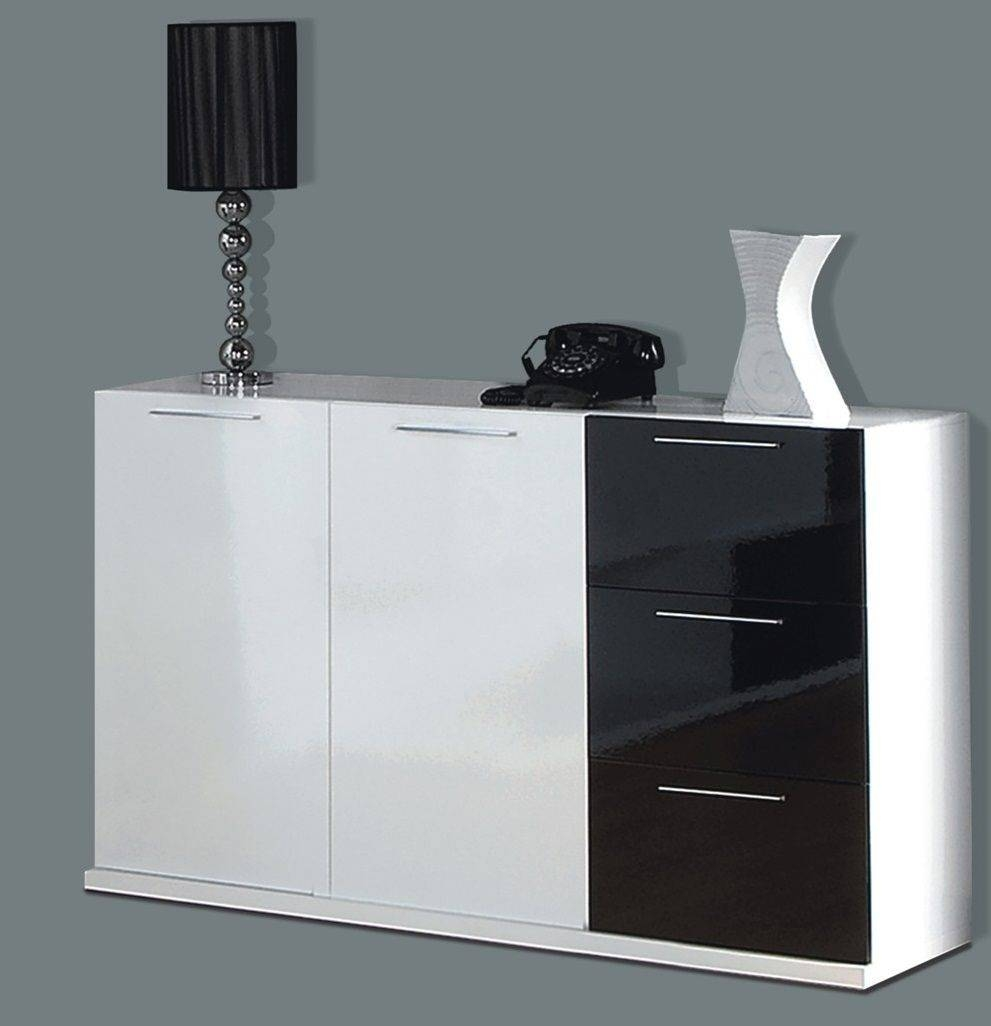 Lena Black White Gloss Sideboard Storage Unit regarding Sideboard Units (Image 12 of 30)
