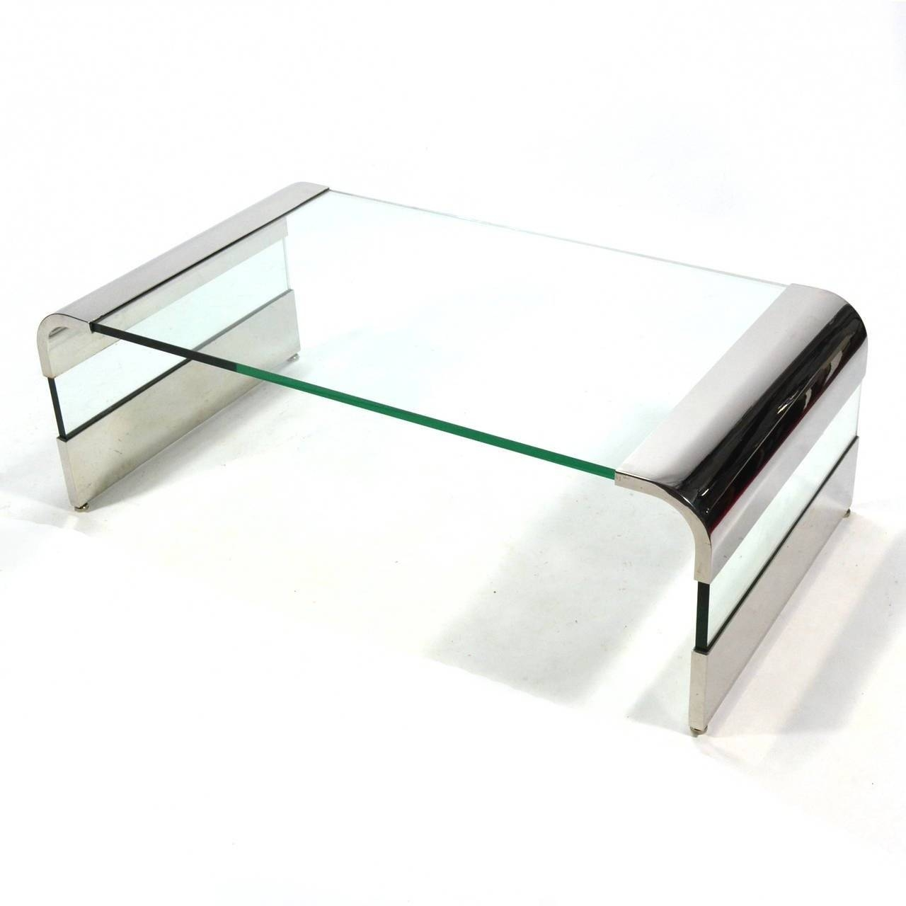 Leon Rosen Chrome And Glass Waterfall Coffee Tablepace For intended for Chrome And Glass Coffee Tables (Image 20 of 30)