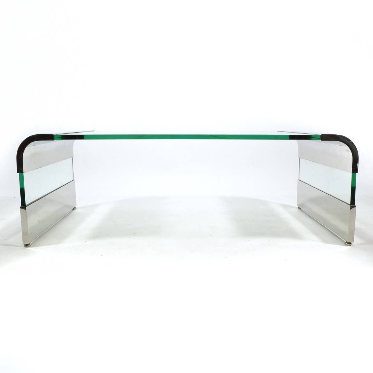 Leon Rosen Chrome And Glass Waterfall Coffee Tablepace For throughout Glass And Chrome Coffee Tables (Image 17 of 30)