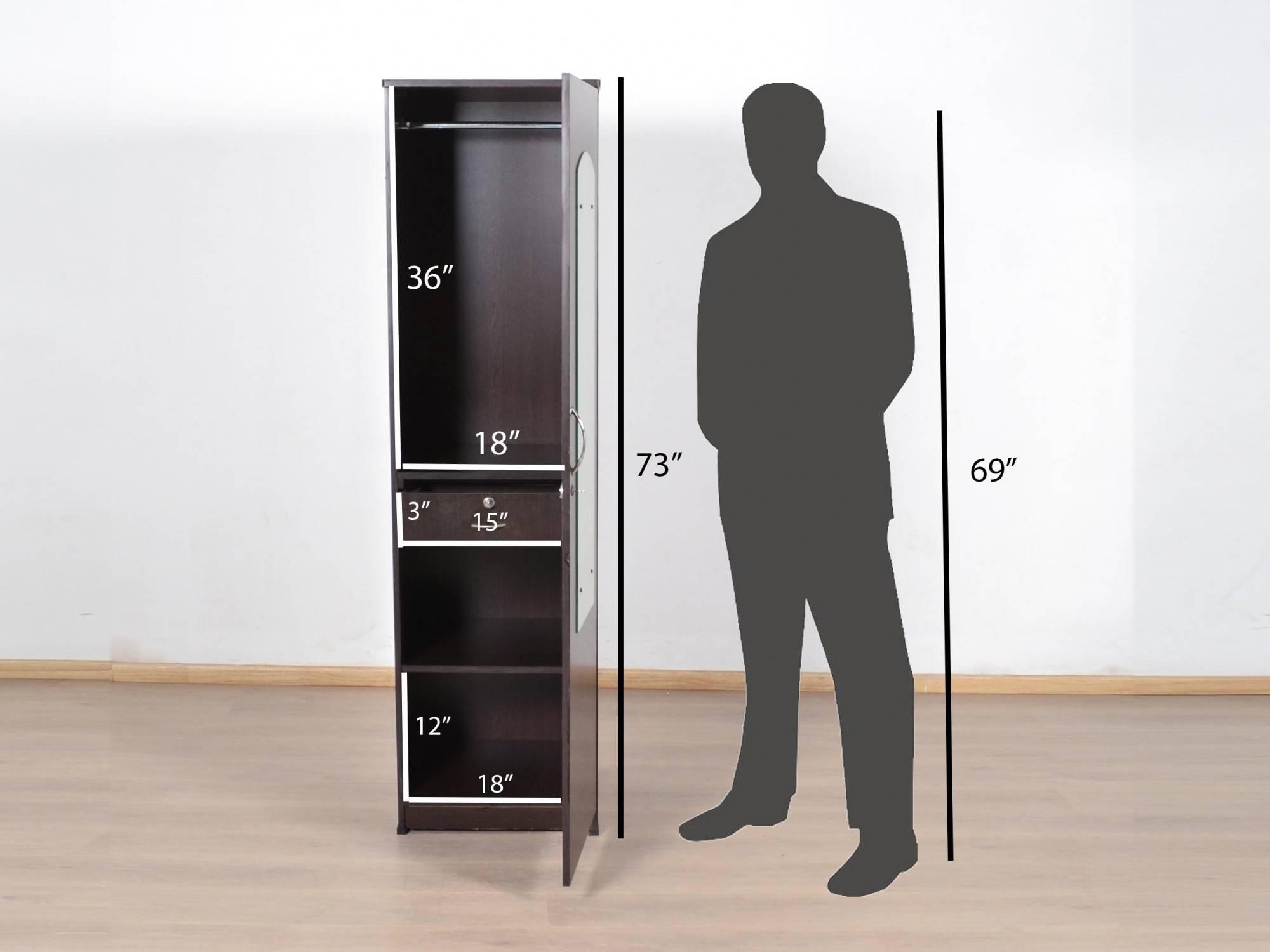 Letitia Single Door Wardrobe With Mirror: Buy And Sell Used Inside Single Door Mirrored Wardrobes (View 4 of 15)