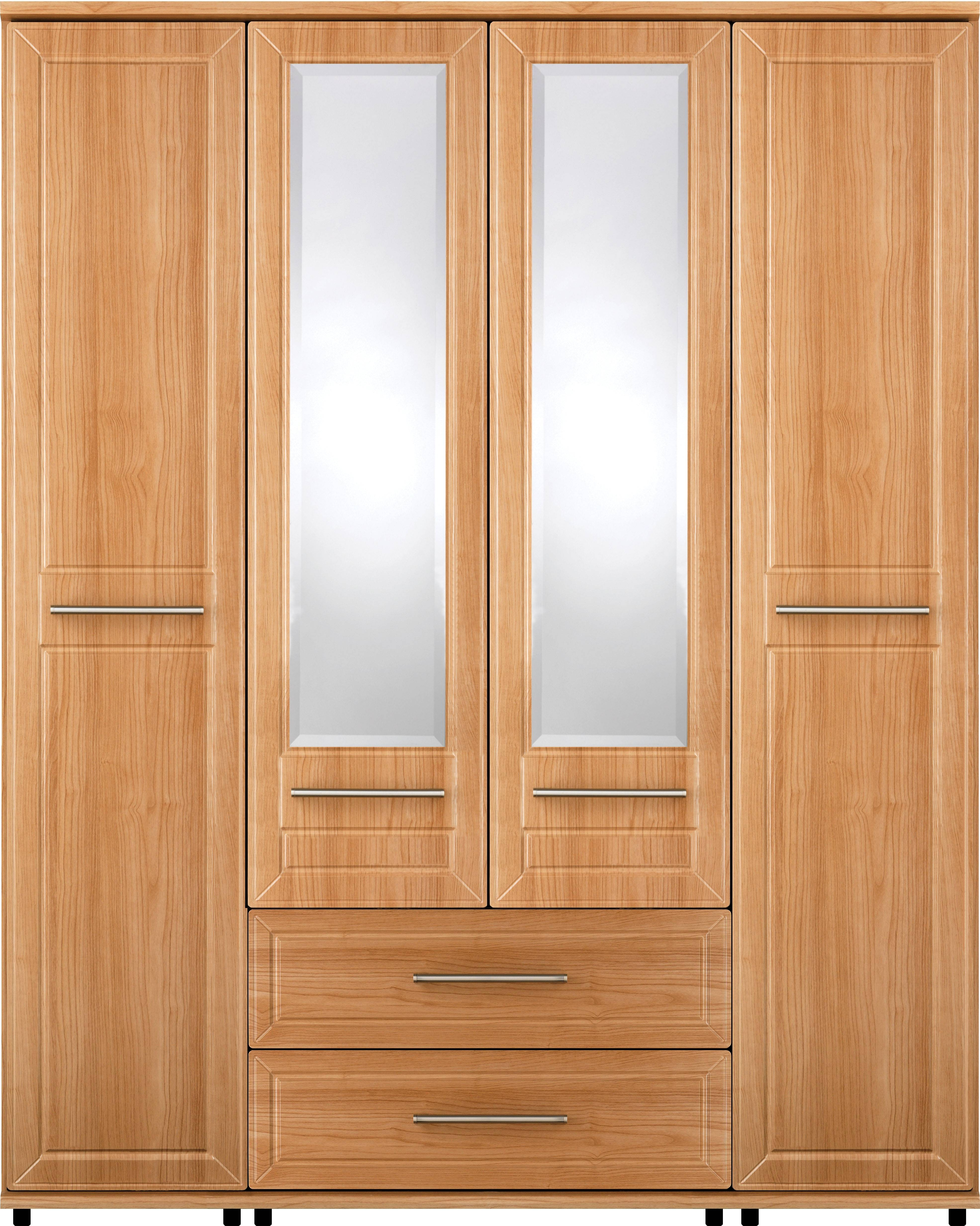 Lewknor Wardrobe With 4 Doors, 2 Drawers And 2 Mirrors | Crendon in Wardrobes 4 Doors (Image 10 of 15)