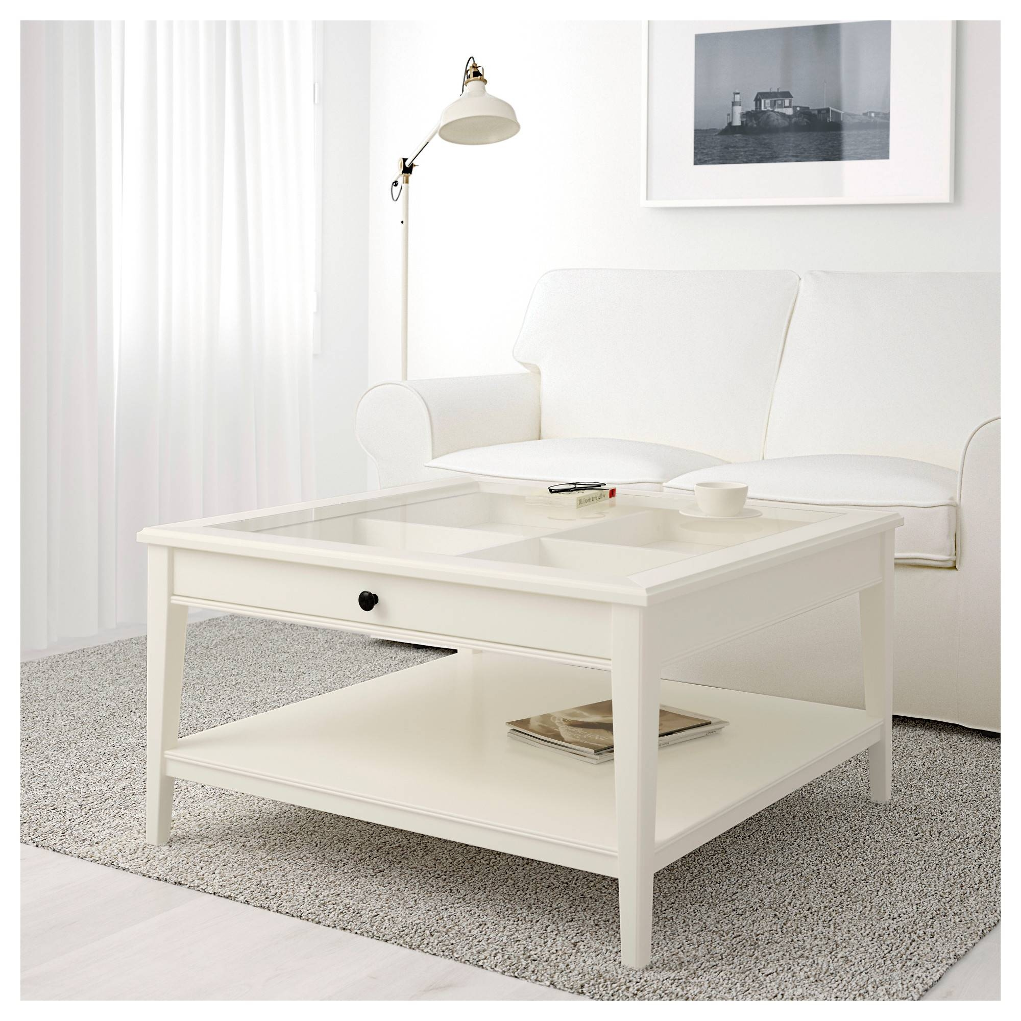 Liatorp Coffee Table - White/glass - Ikea intended for Glass Coffee Tables With Storage (Image 25 of 30)