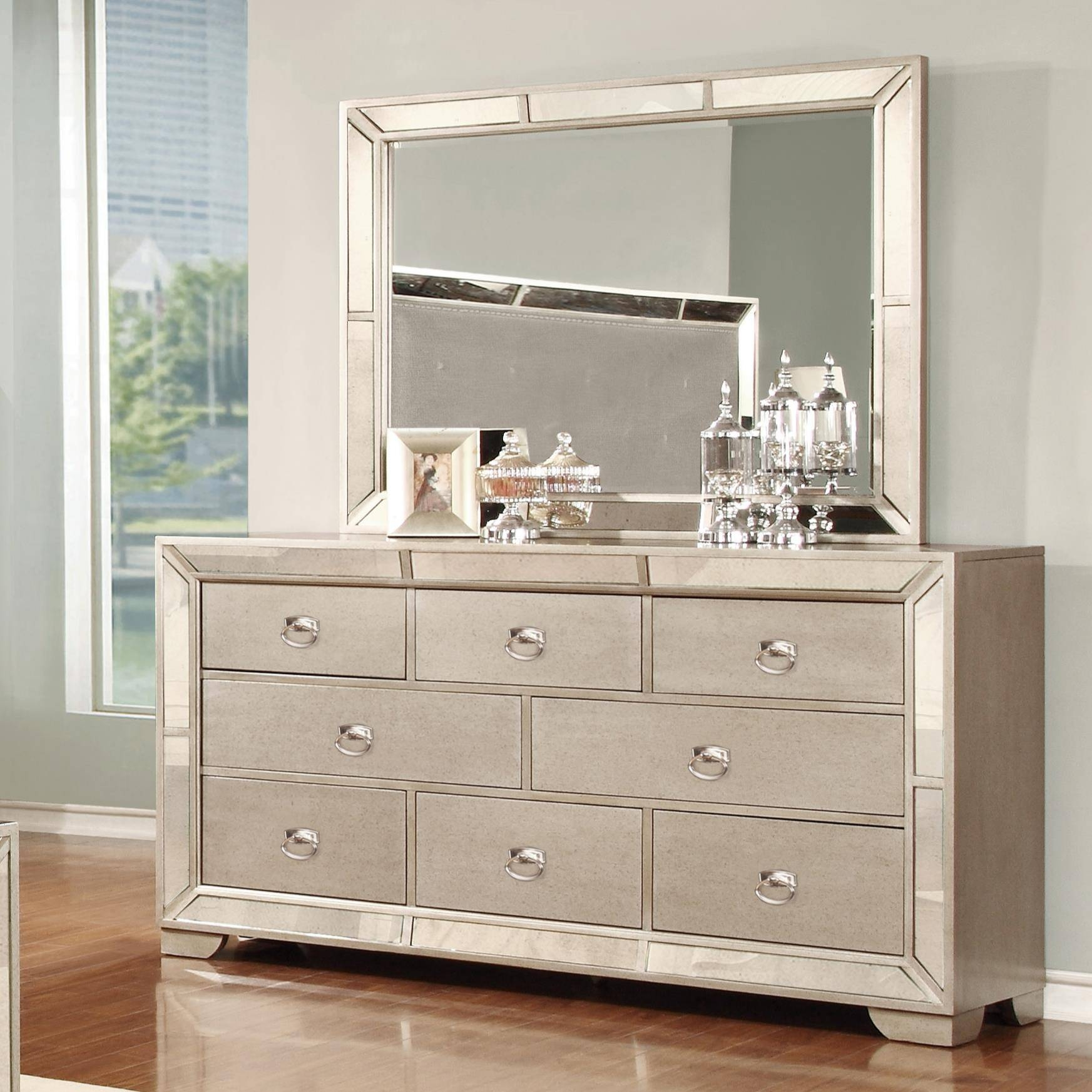 Lifestyle Glitzy 7 Drawer Dresser And Mirror Set - Royal Furniture regarding Glitzy Mirrors (Image 22 of 25)