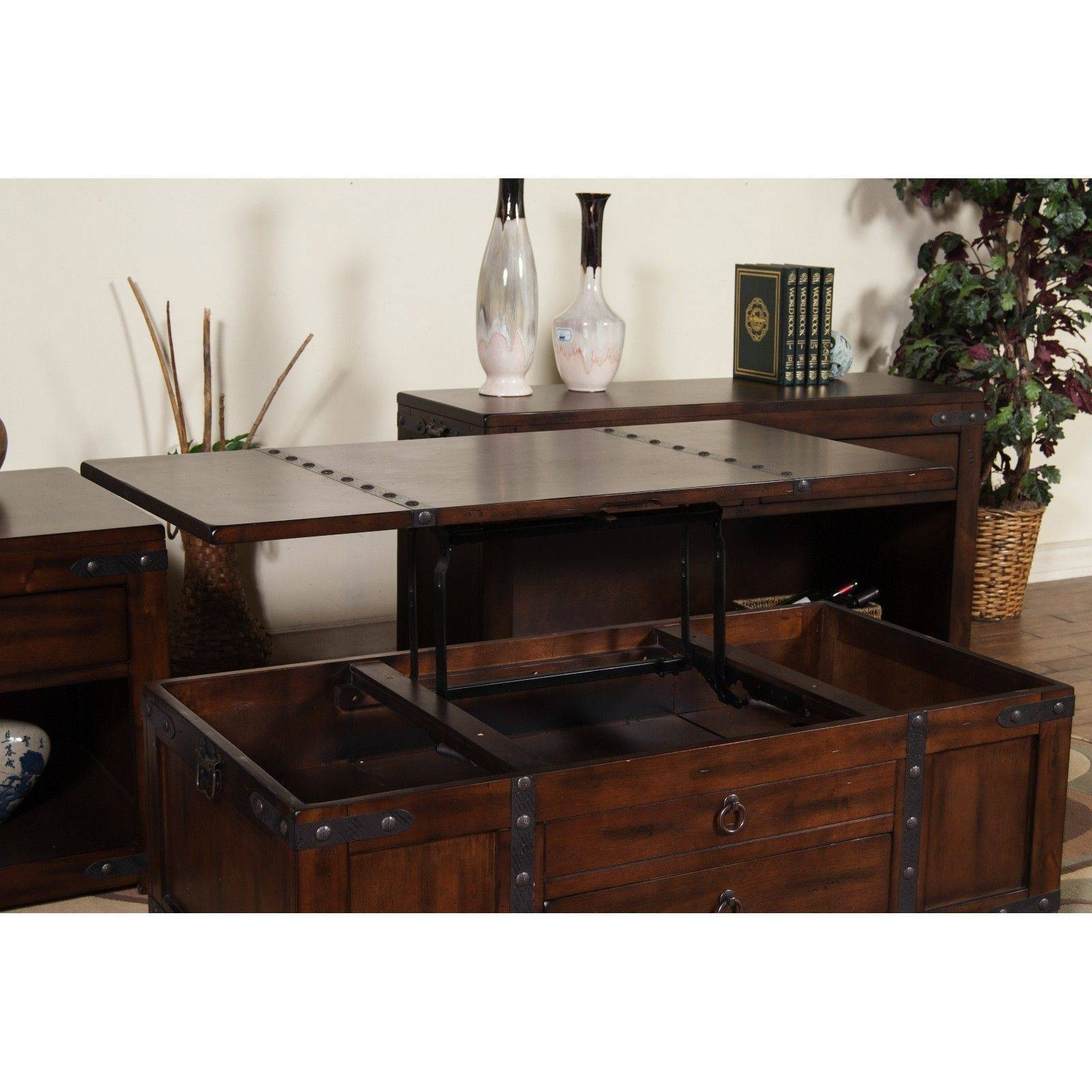 Lift Top Coffee Table Convertible Laptop Desk Tv Tray Rustic Trunk within Lift Top Coffee Tables With Storage (Image 16 of 30)