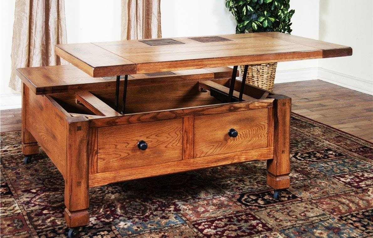 Lift Top Coffee Table With Storage Drawers | Coffee Tables Decoration within Square Coffee Tables With Storages (Image 20 of 30)