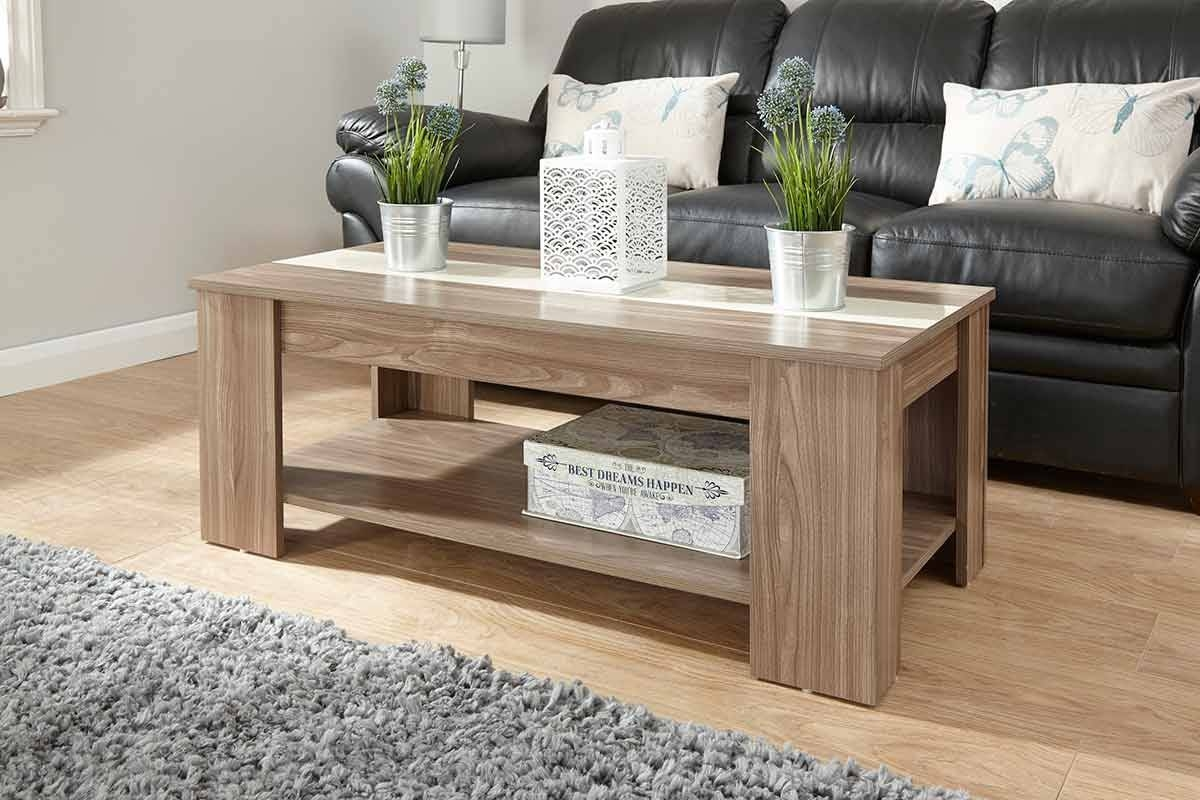 Lift Up Coffee Table Walnut & Cream From The Original Factory Shop within Lift Up Coffee Tables (Image 20 of 30)