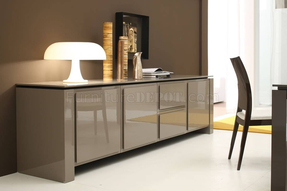 Light Brown Finish Contemporary Buffet With Spacious Cabinets in Contemporary Sideboard Cabinets (Image 19 of 30)