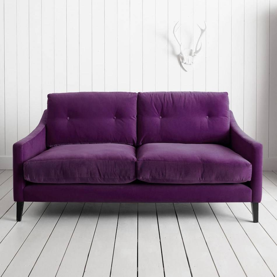 Light Velvet Sofas: Dark Grey Living Room With Beige Velvet Sofa intended for Velvet Purple Sofas (Image 13 of 30)