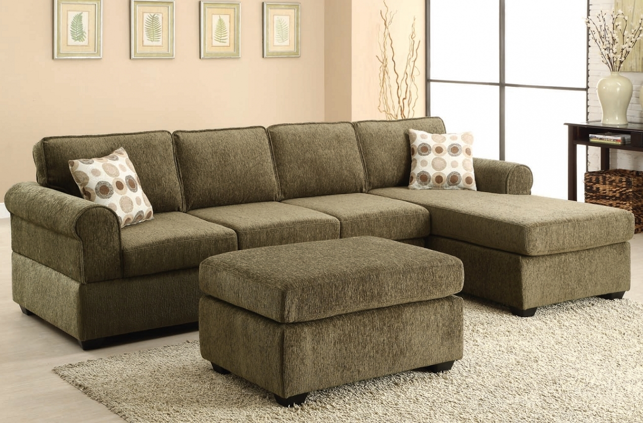 Likable Olive Green Fabric Sectional Sofa With Chaise And With with Green Sectional Sofa (Image 16 of 30)