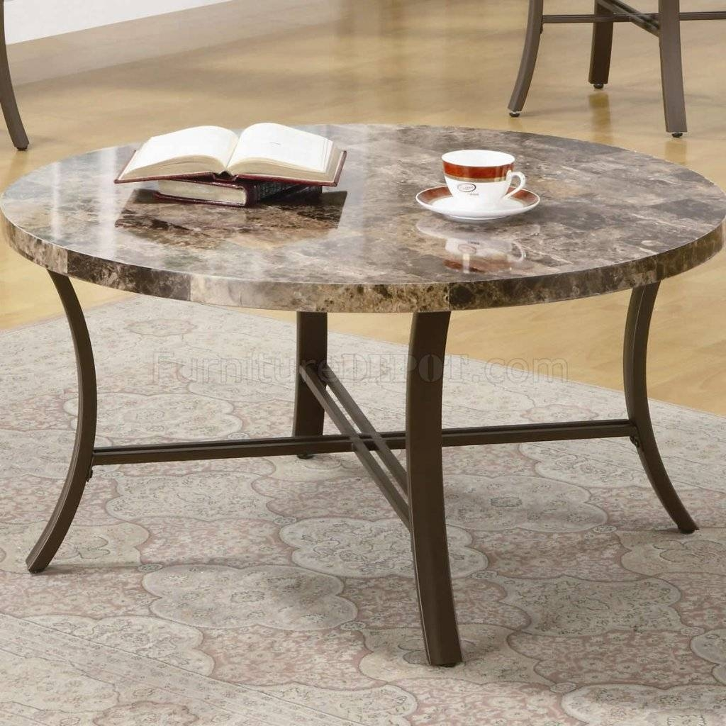 Like Round Top & Metal Base Modern 3Pc Coffee Table Set throughout Marble and Metal Coffee Tables (Image 18 of 30)
