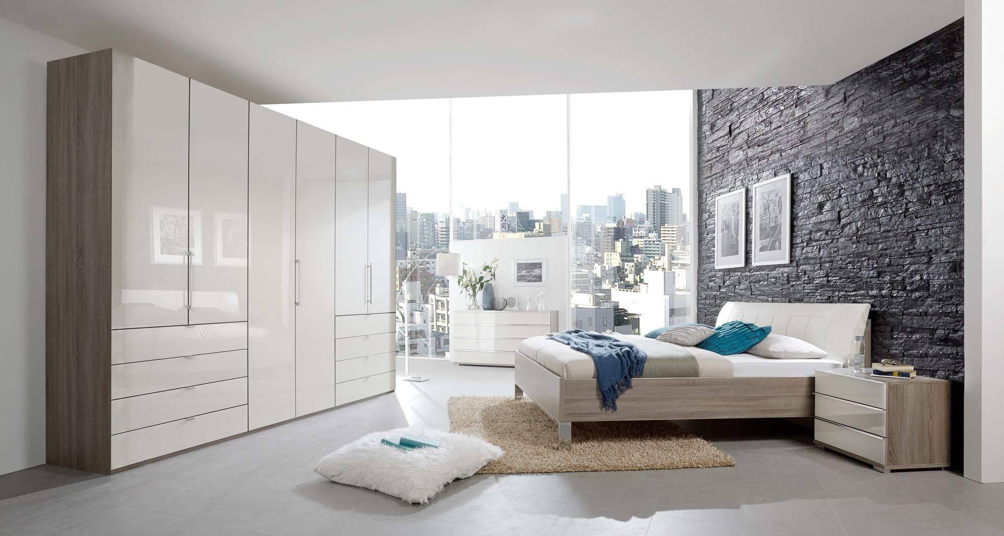 Linea Design. Wiemann Loft 5 Door 250Cm Wardrobe Magnolia Glass inside 5 Door Wardrobes Bedroom Furniture (Image 11 of 15)