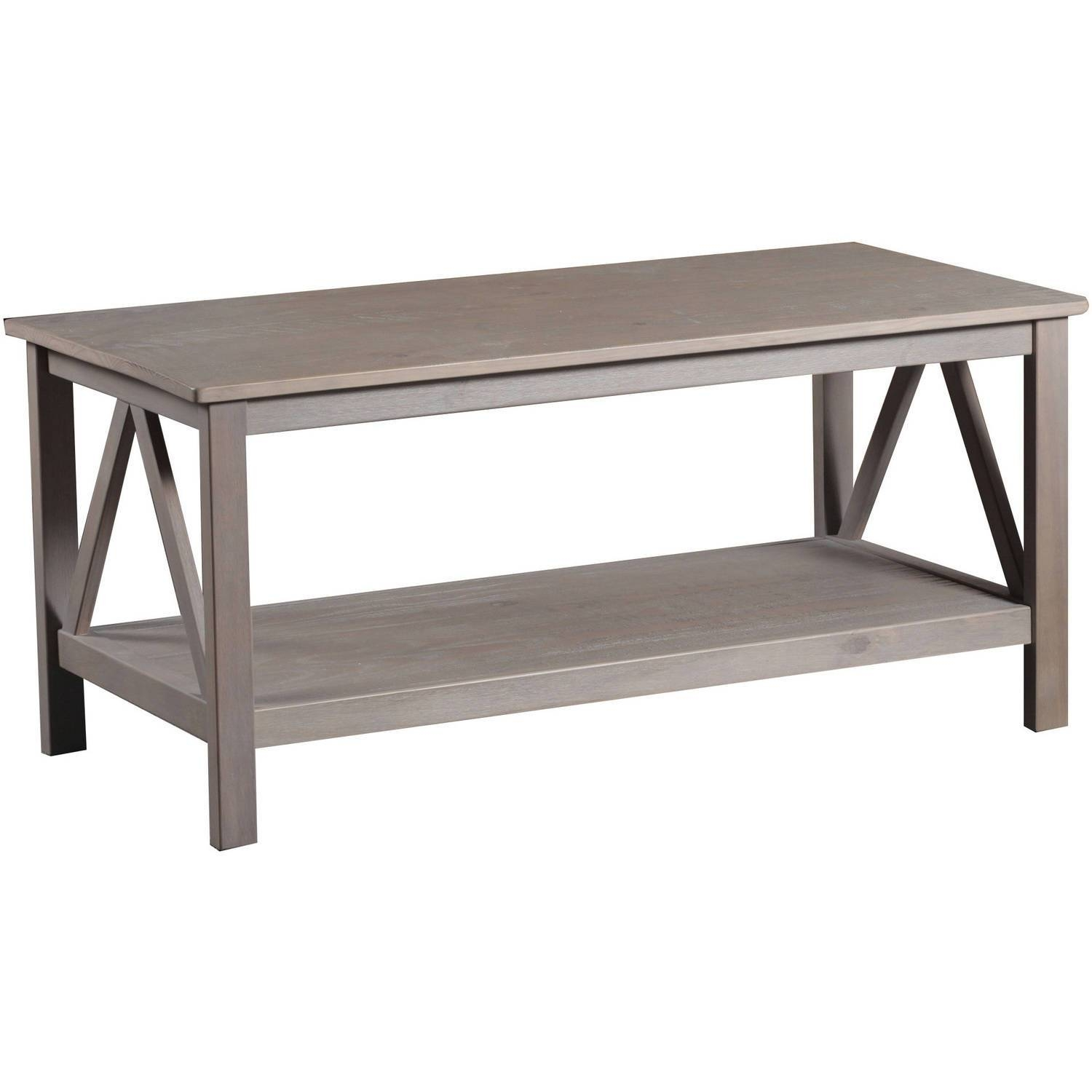 Linon Titian Coffee Table, Rustic Gray - Walmart with Grey Coffee Tables (Image 26 of 30)
