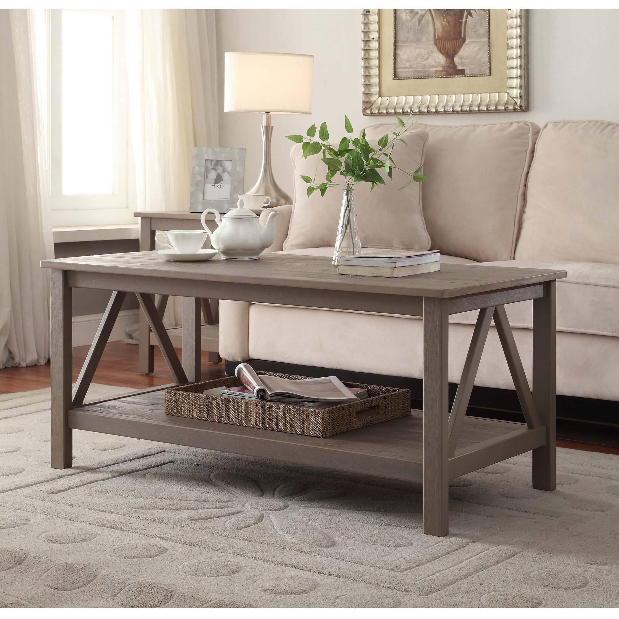 Linon Titian Coffee Table, Rustic Gray - Walmart with Grey Coffee Tables (Image 25 of 30)