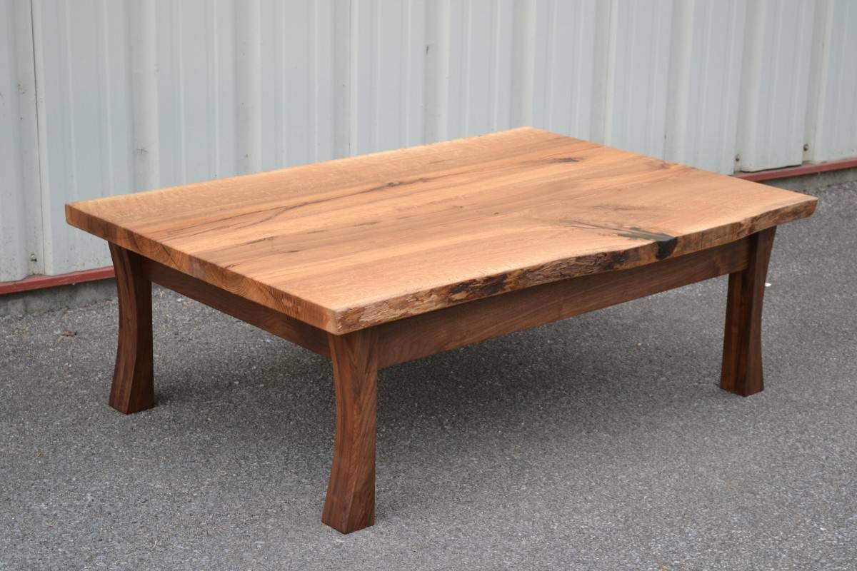 Live Edge White Oak Coffee Table With Curved Walnut Legs | Corey in White And Oak Coffee Tables (Image 19 of 30)