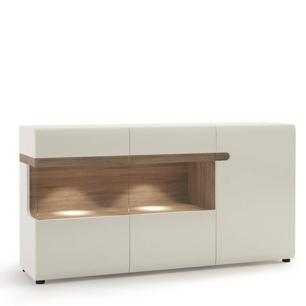 Living 3 Door Glazed Sideboard In White With An Truffle Oak Trim intended for High Gloss Sideboards (Image 18 of 30)