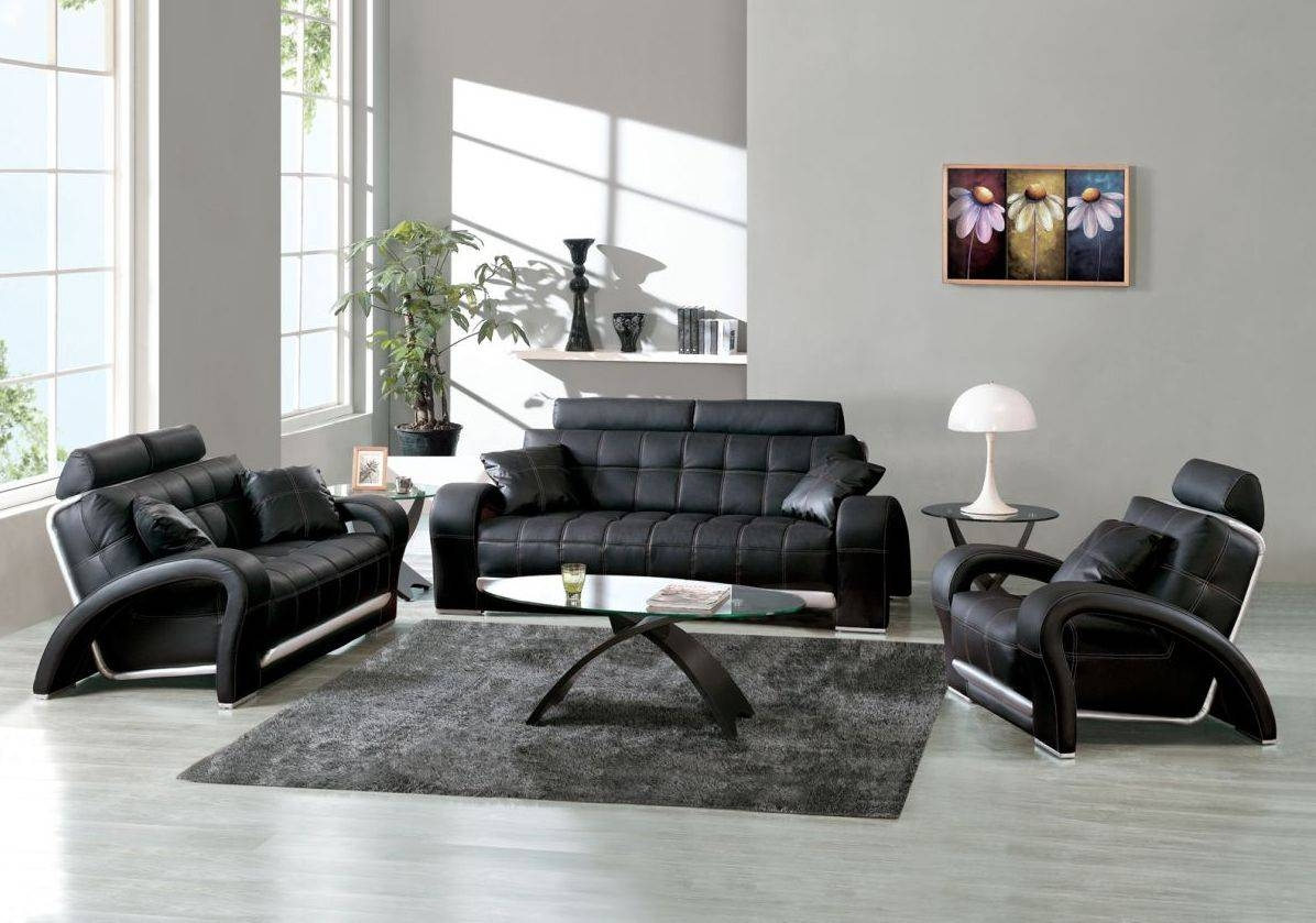 Living Room ~ Black Leather Sectional Sofa White Tile Flooring throughout Contemporary Black Leather Sofas (Image 16 of 30)
