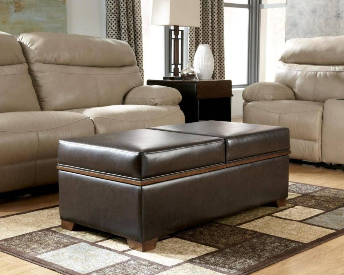 Living Room : Brown Leather Ottoman Coffee Table Zab Living inside Brown Leather Ottoman Coffee Tables (Image 25 of 30)
