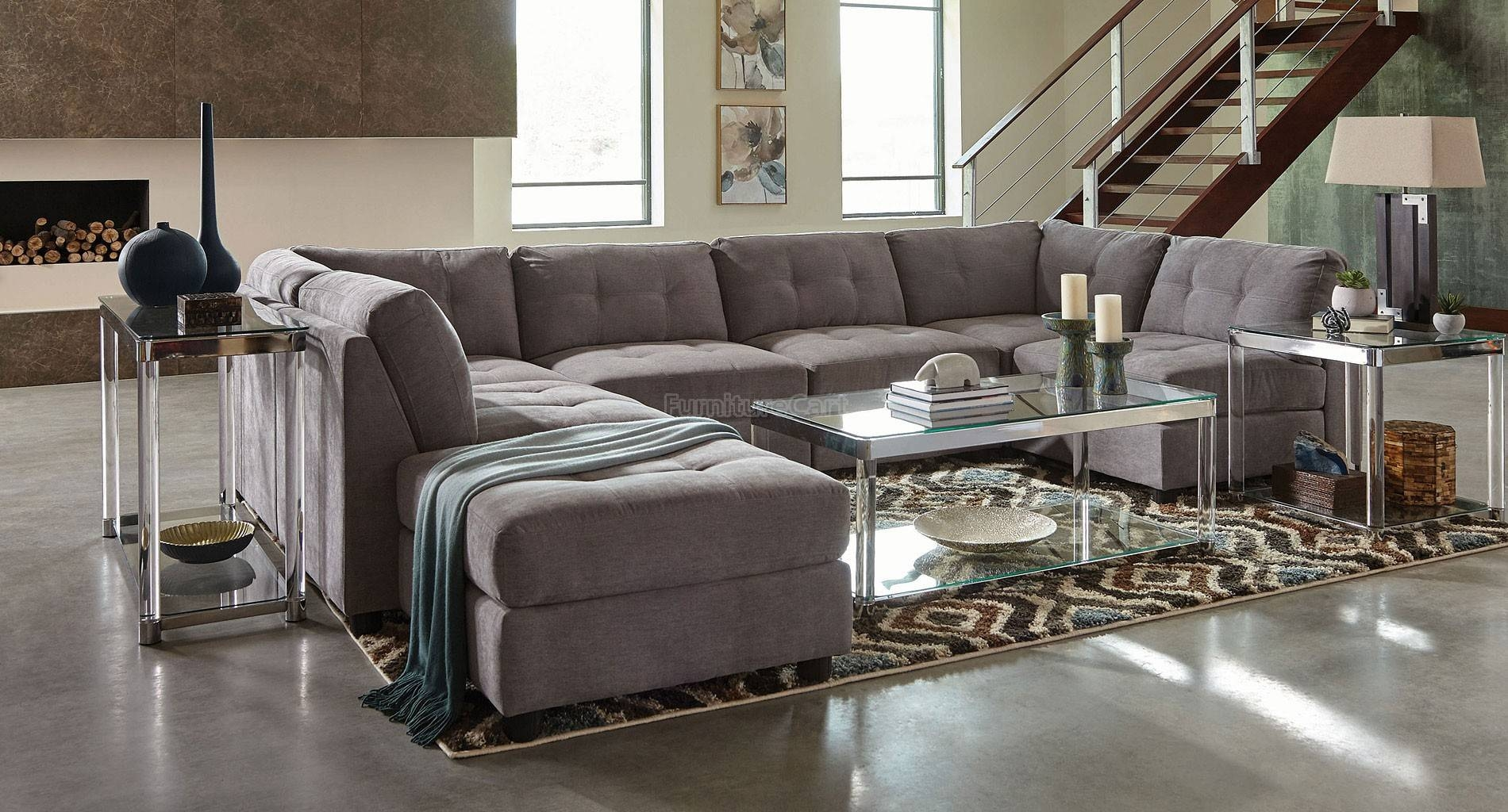 Living Room: Captivating Coaster Sectional Design For Your Lovely pertaining to Chenille And Leather Sectional Sofa (Image 16 of 30)