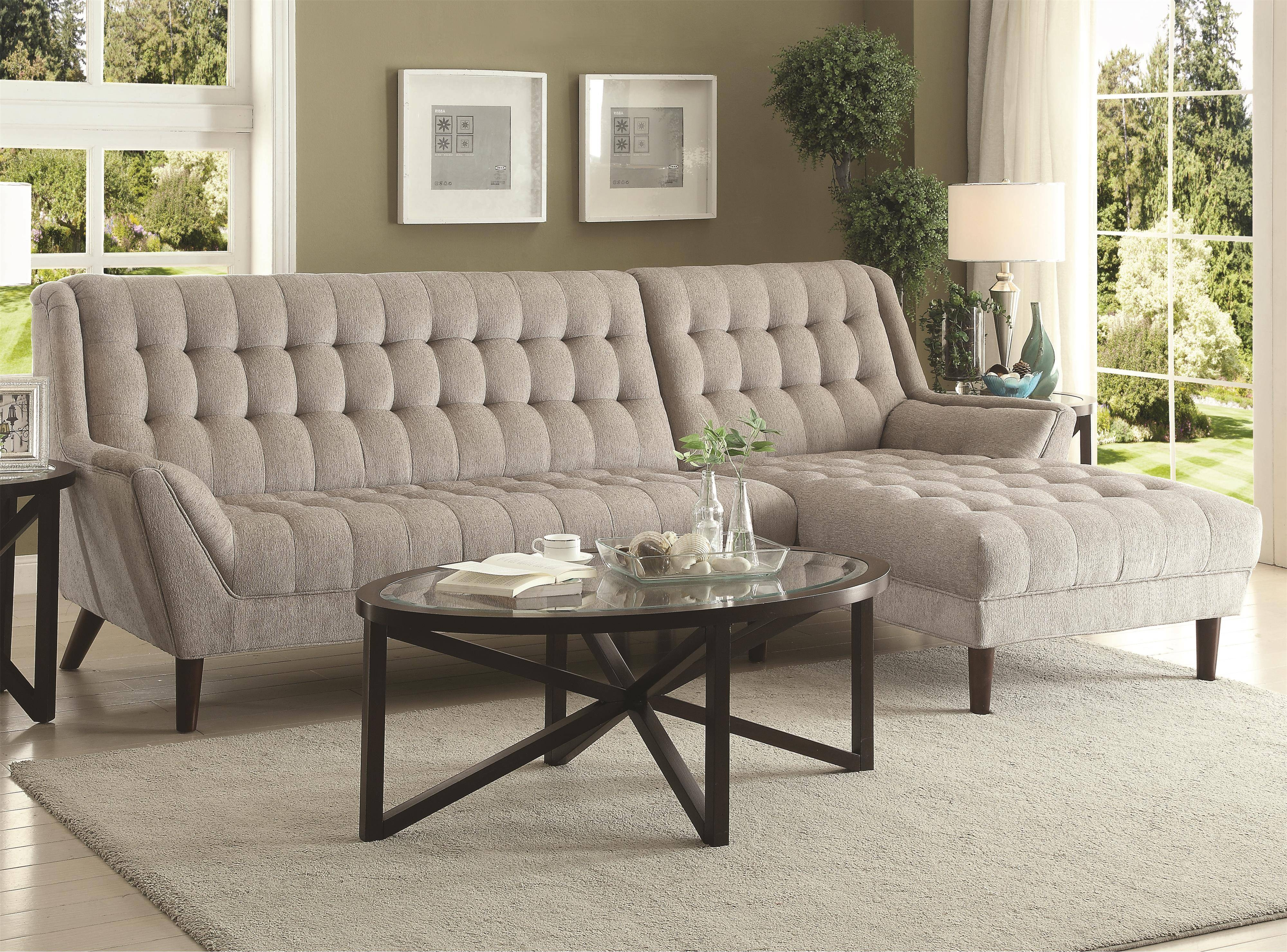 Living Room: Captivating Coaster Sectional Design For Your Lovely with regard to Tufted Sectional Sofa With Chaise (Image 12 of 30)