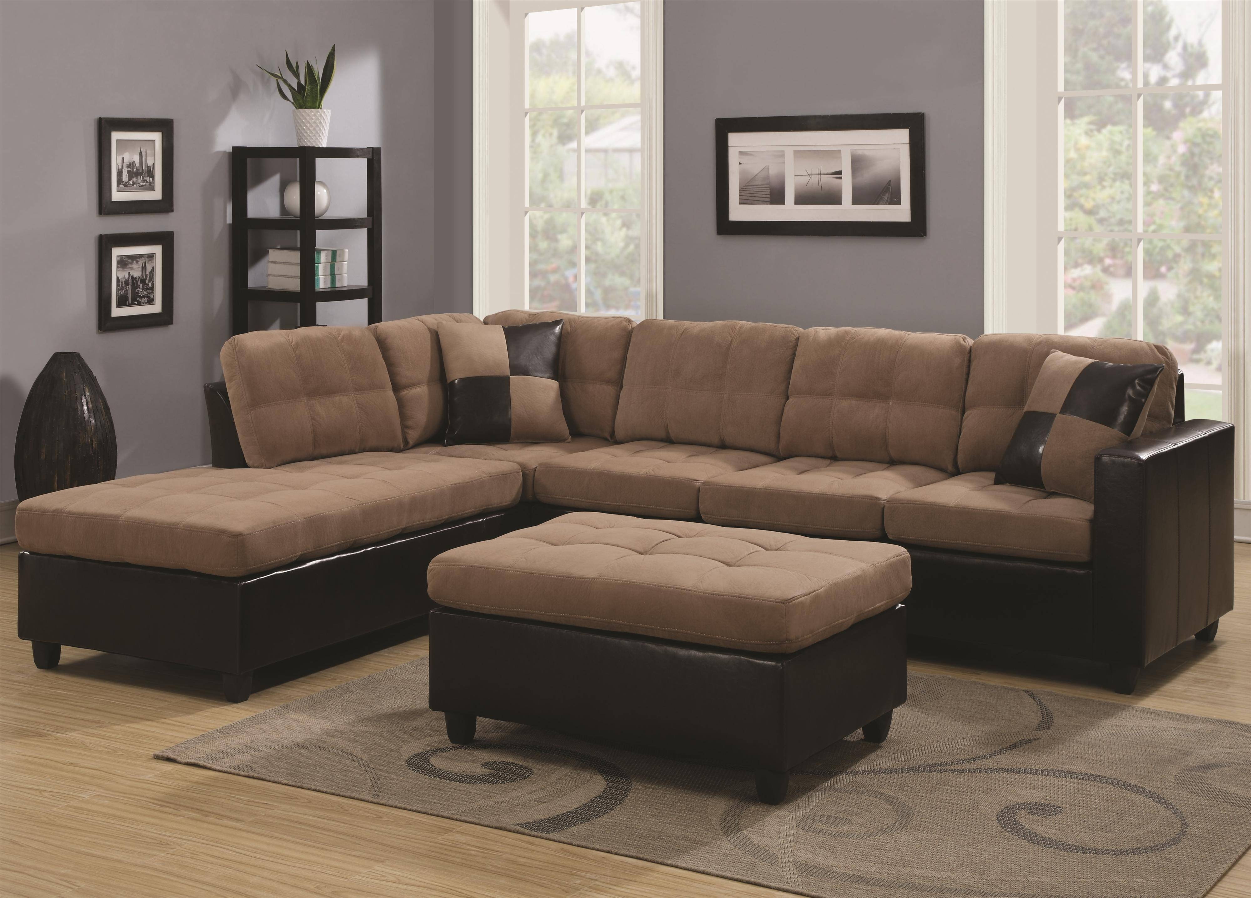 30 Best Ideas of Chenille and Leather Sectional Sofa