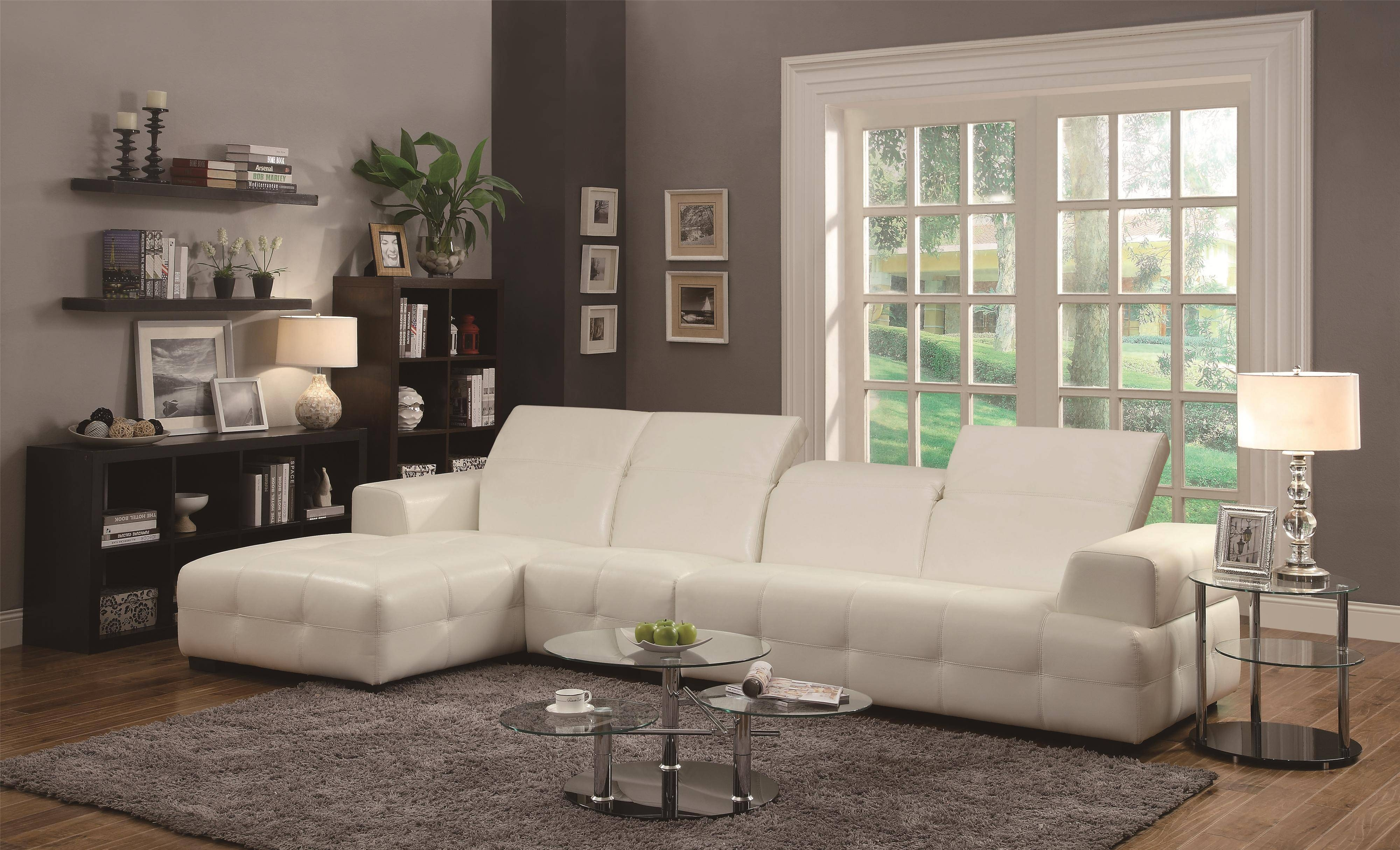 Living Room: Coaster Fine Furniture | Chenille And Leather with Chenille and Leather Sectional Sofa (Image 20 of 30)