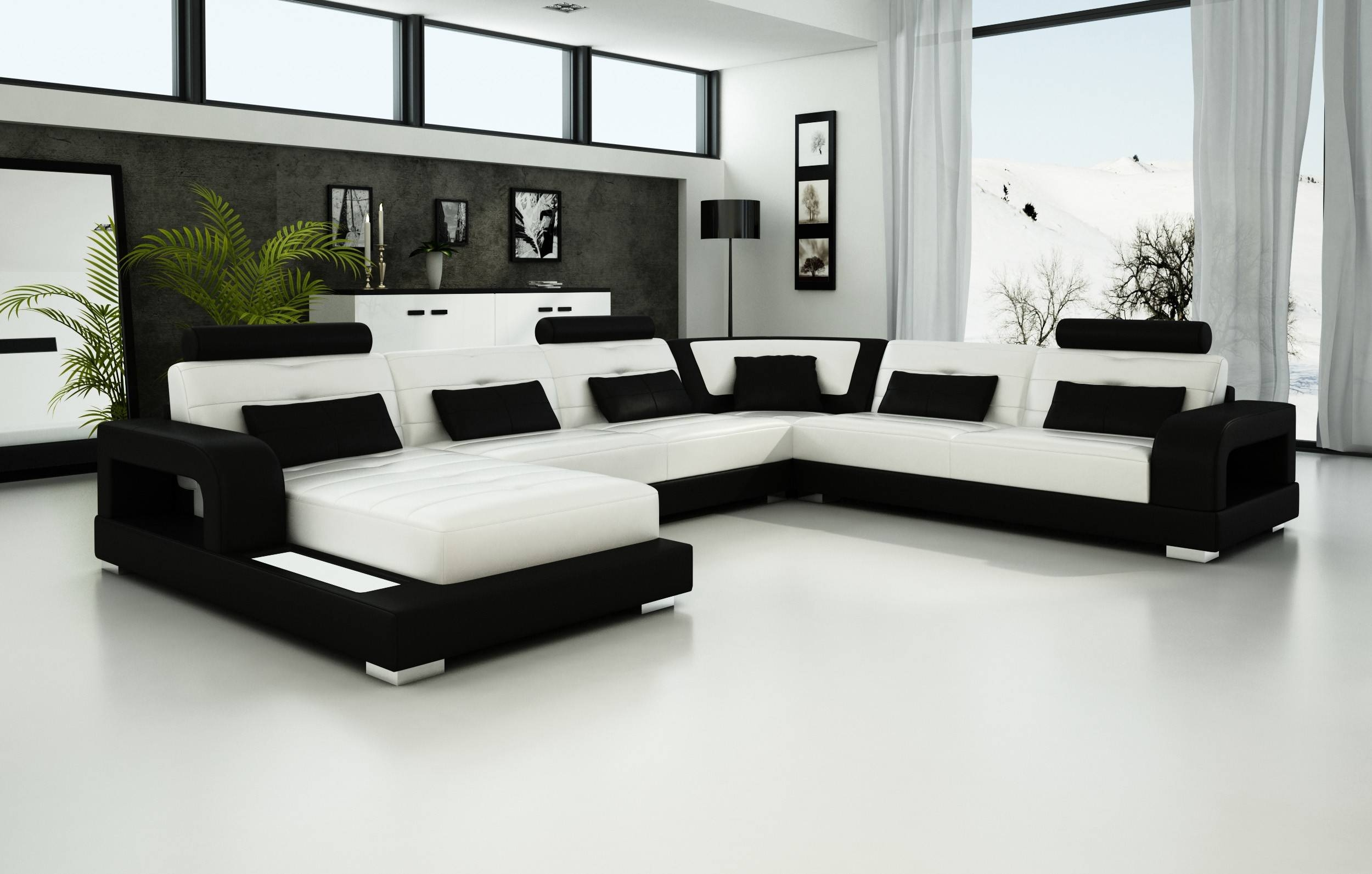 Living Room: Cozy Living Room With White Leather Sofa. Black And within Black and White Sofas (Image 17 of 30)