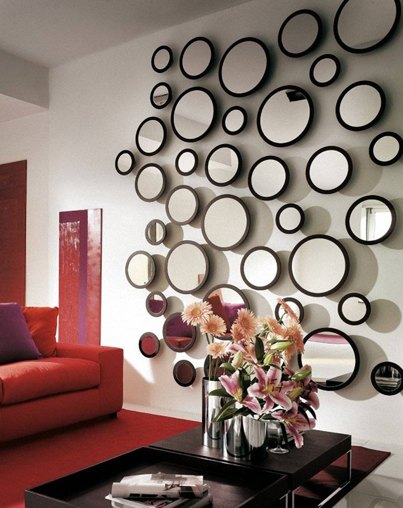 Living Room : Crested Silver Wooden Wall Mirror For Living Room in Unusual Wall Mirrors (Image 12 of 25)