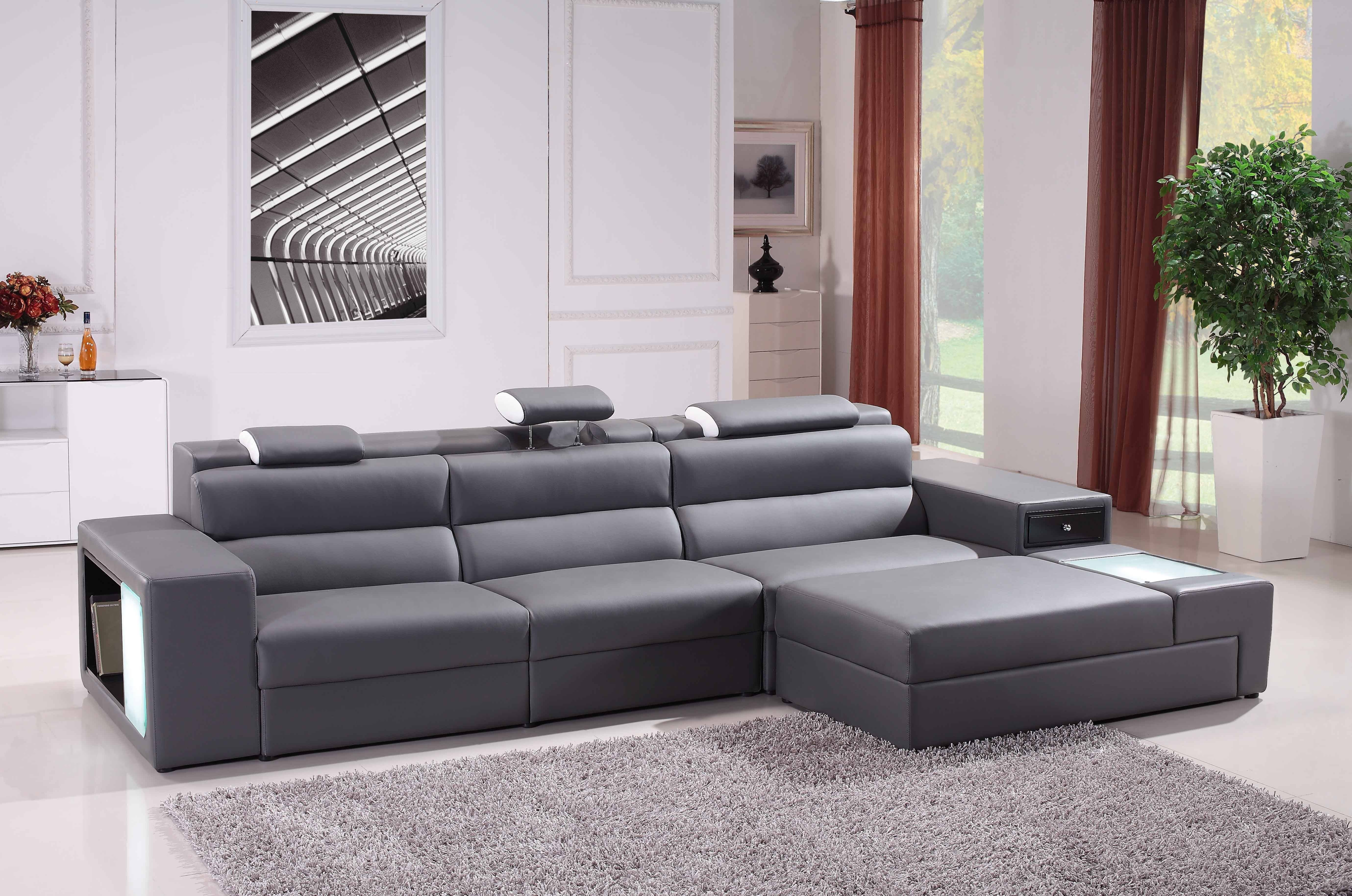 Living Room : Fashionable Chic Brown Leather Sectional Sofa With within Durable Sectional Sofa (Image 21 of 30)
