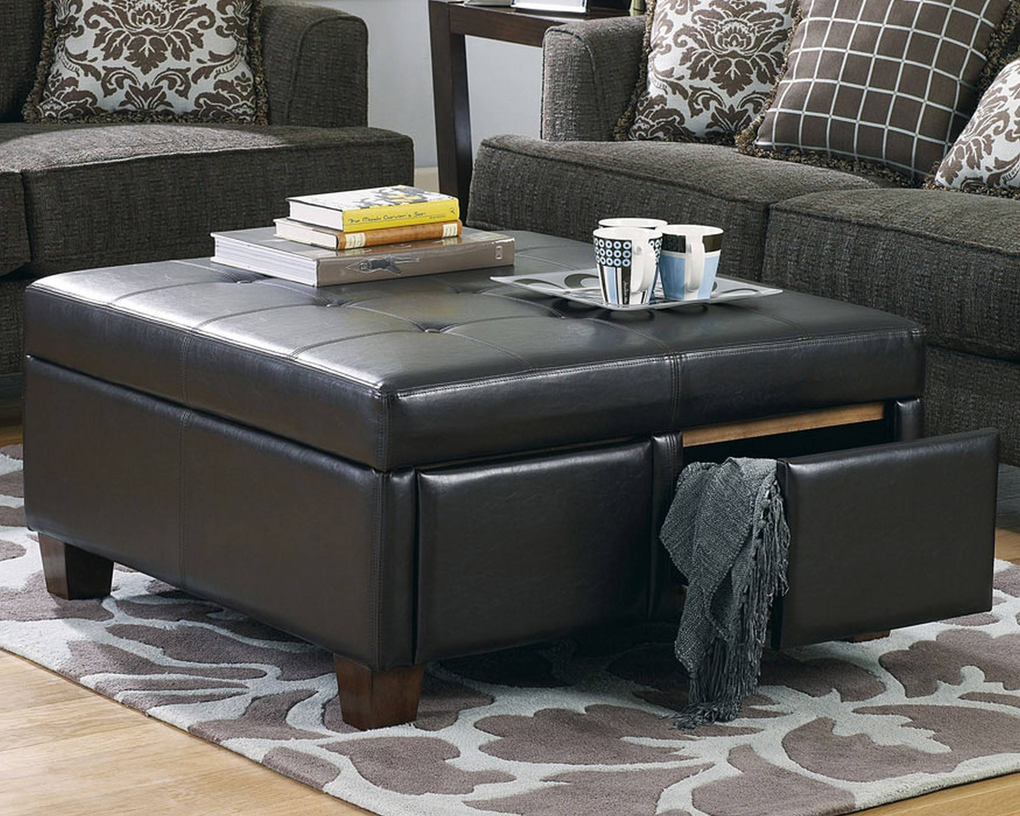 Living Room : Furniture Living Room Round Brown Faux Leather with regard to Brown Leather Ottoman Coffee Tables (Image 26 of 30)