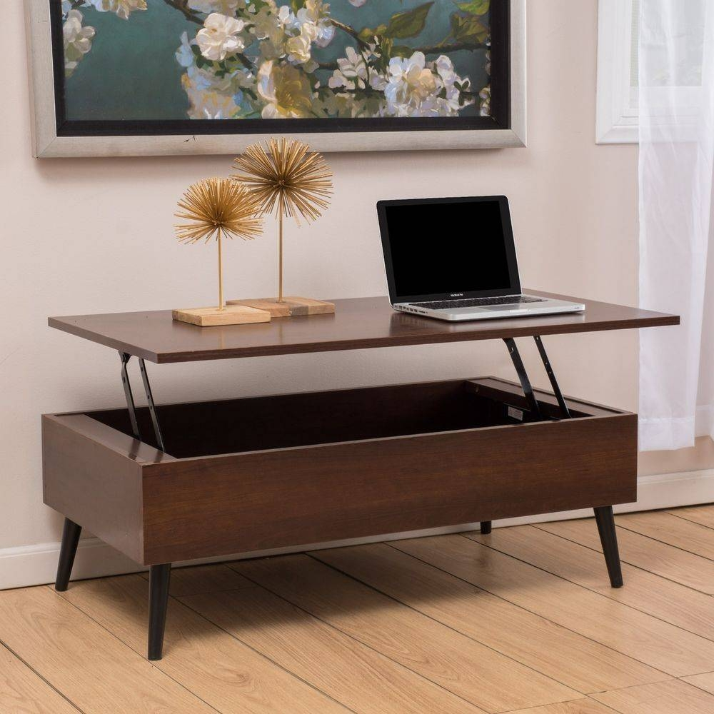 Living Room Furniture Mid-Century Mahogany Wood Lift Top Storage in Wooden Storage Coffee Tables (Image 17 of 30)