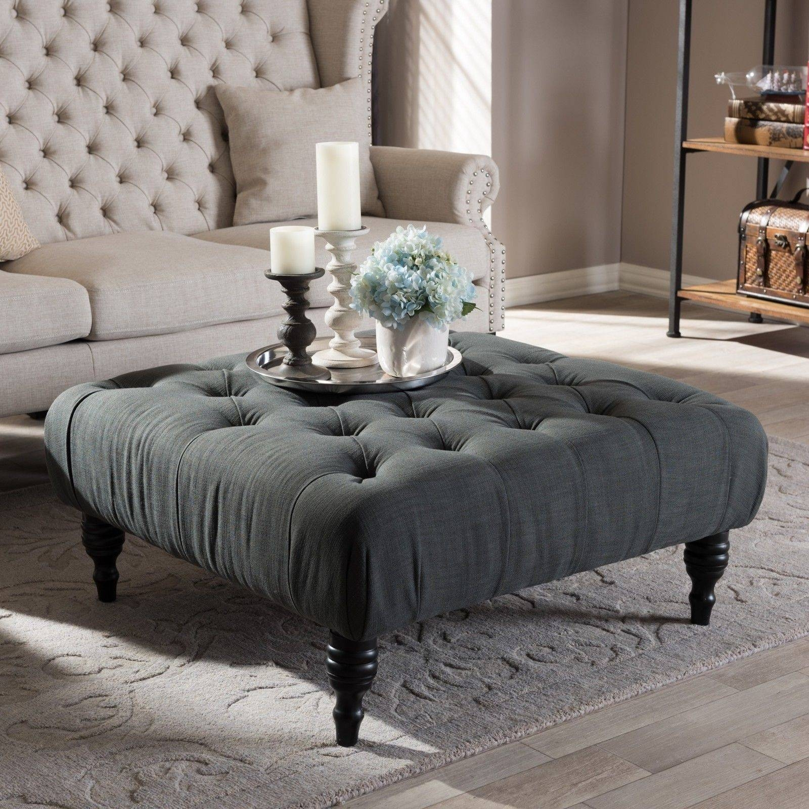 Living Room Furniture-Tufted Linen Ottoman-Footstool Footrest inside Coffee Table Footrests (Image 22 of 30)